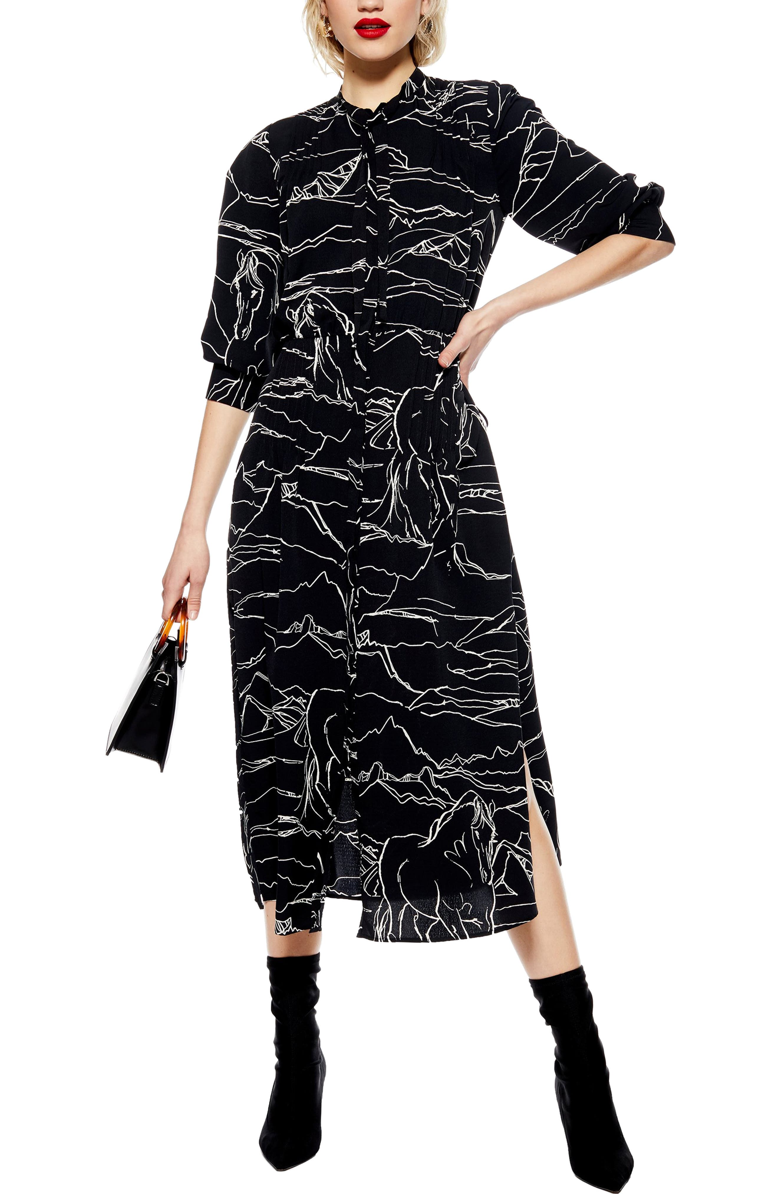 Topshop Horse Print Midi Dress, US (fits like 2-4) - Black
