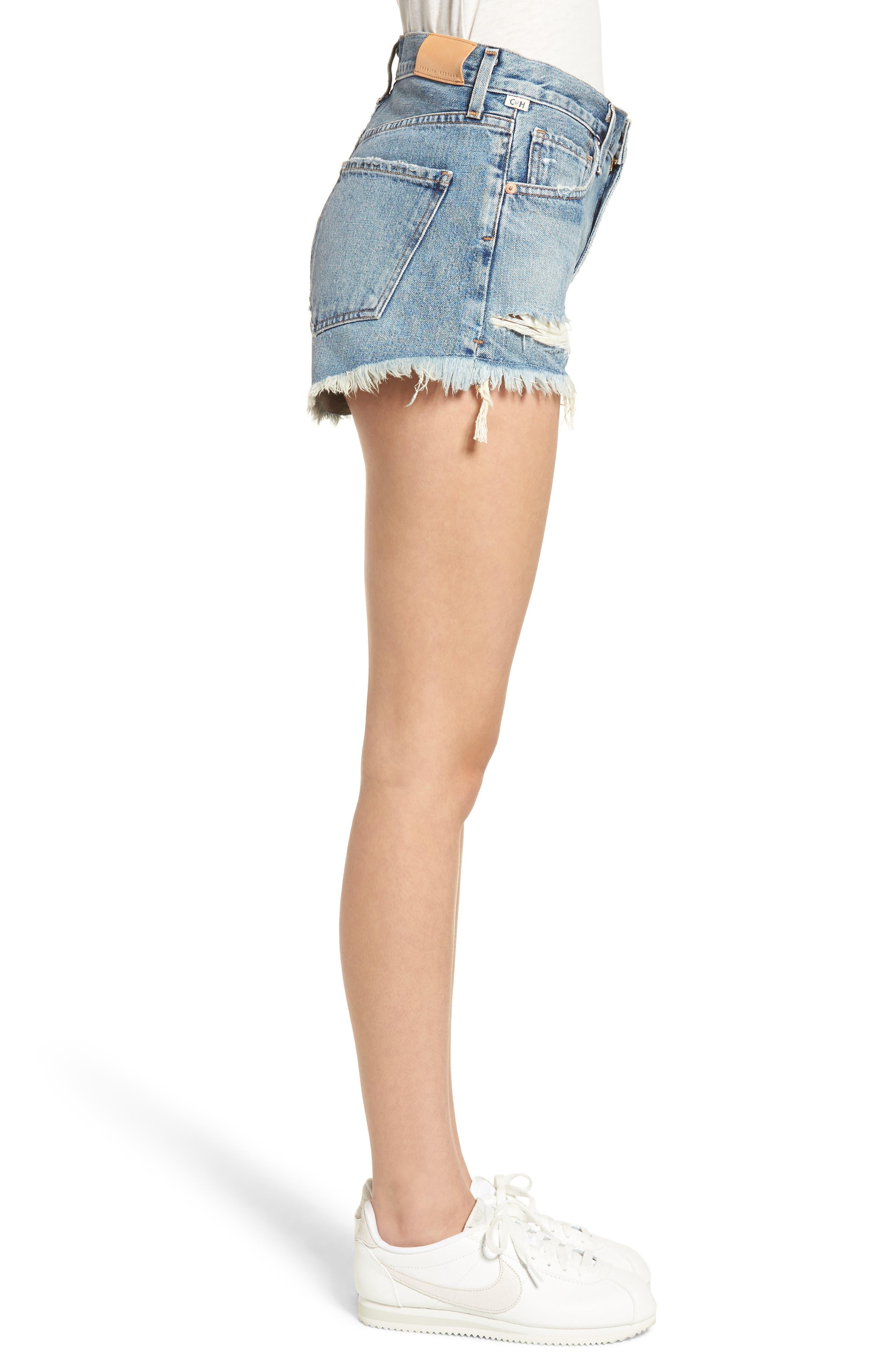Danielle High Waist Cutoff Shorts,                             Alternate thumbnail 3, color,