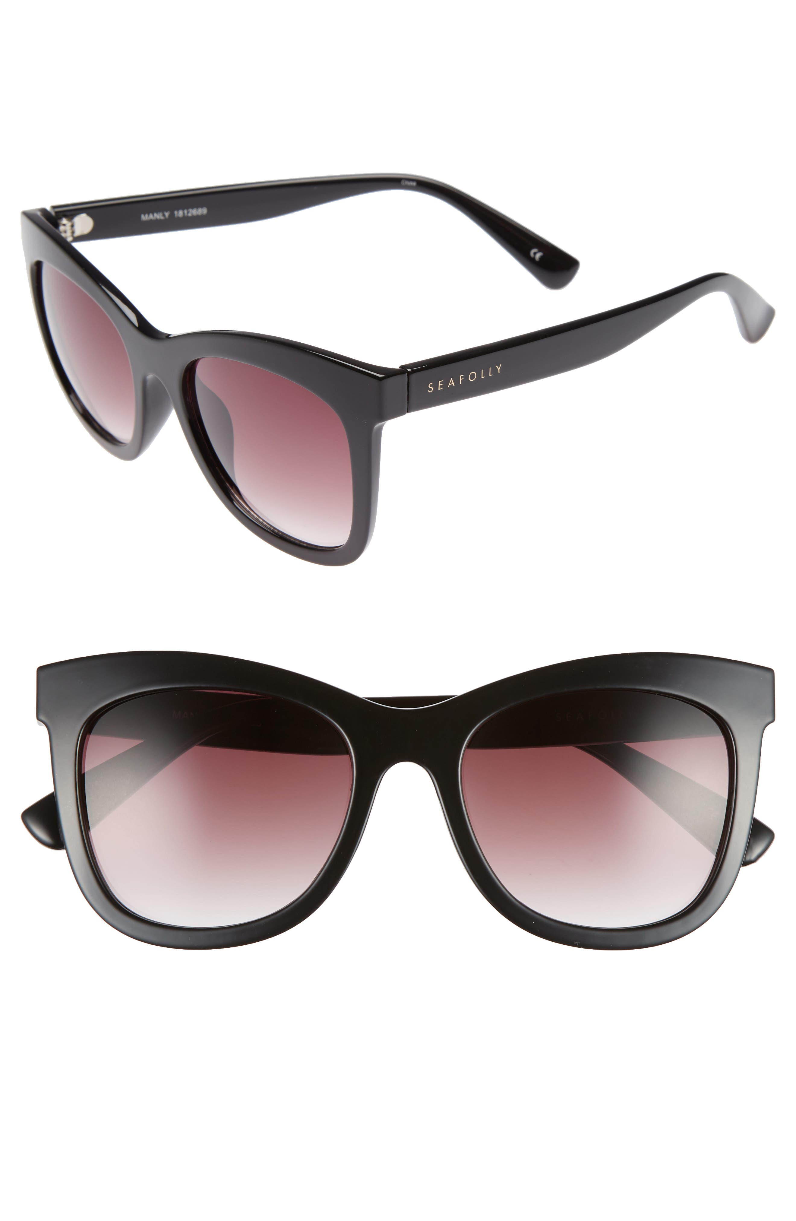 Manly 52mm Cat Eye Sunglasses,                             Main thumbnail 1, color,                             BLACK
