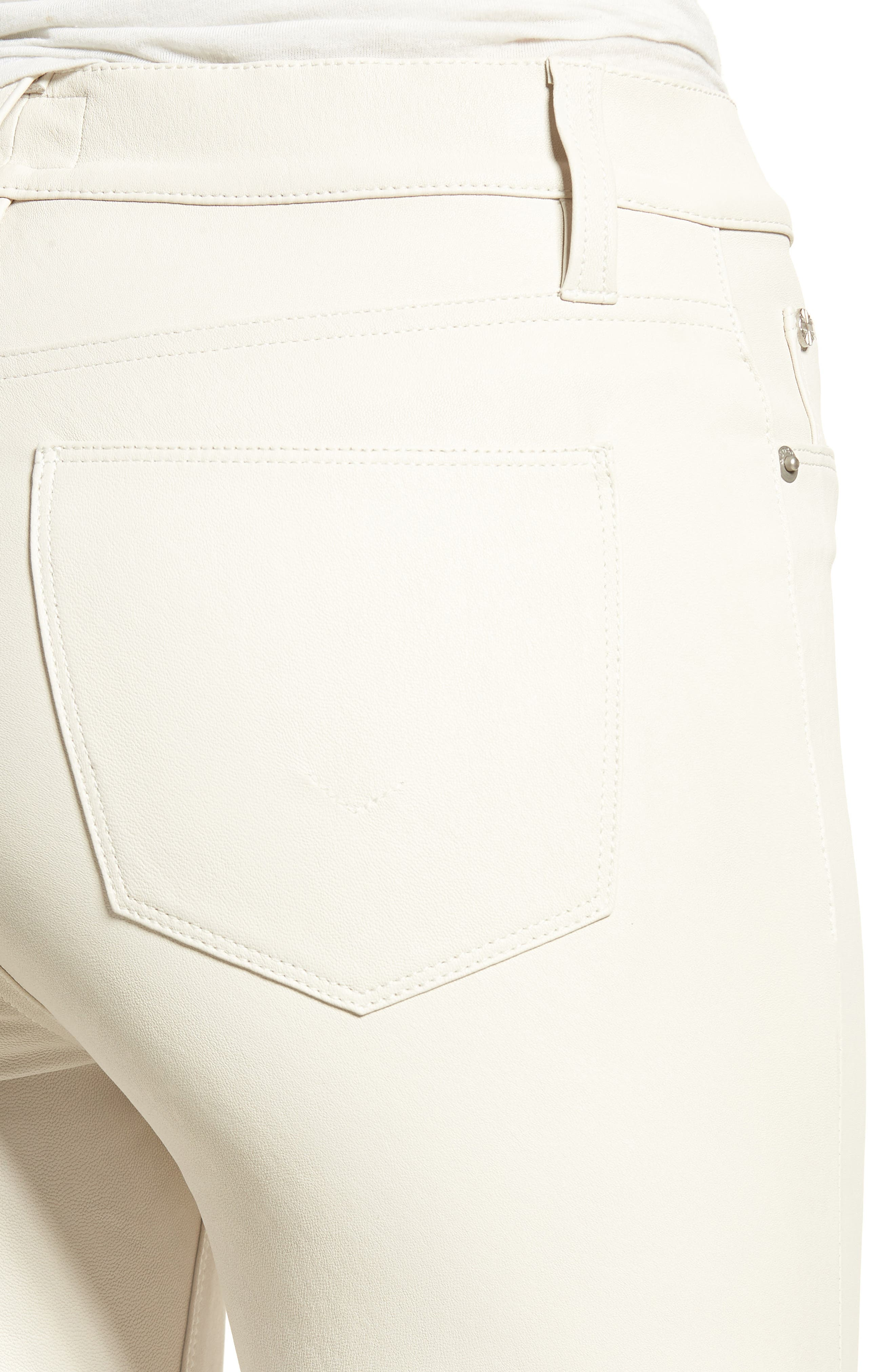 Barbara High Waist Super Skinny Leather Jeans,                             Alternate thumbnail 4, color,                             PALE WHITE