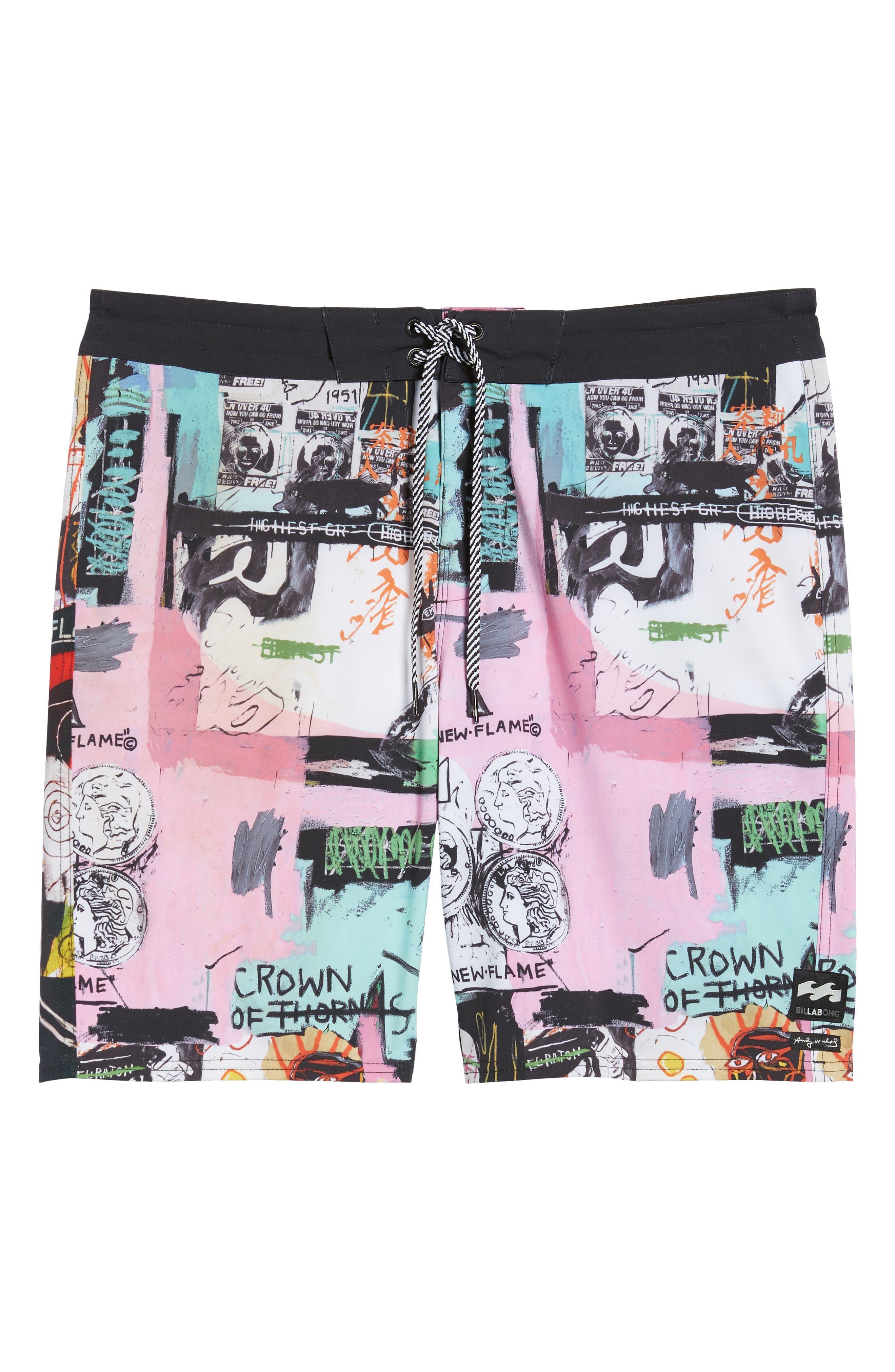 x Warhol Factory X Board Shorts,                             Alternate thumbnail 6, color,                             100