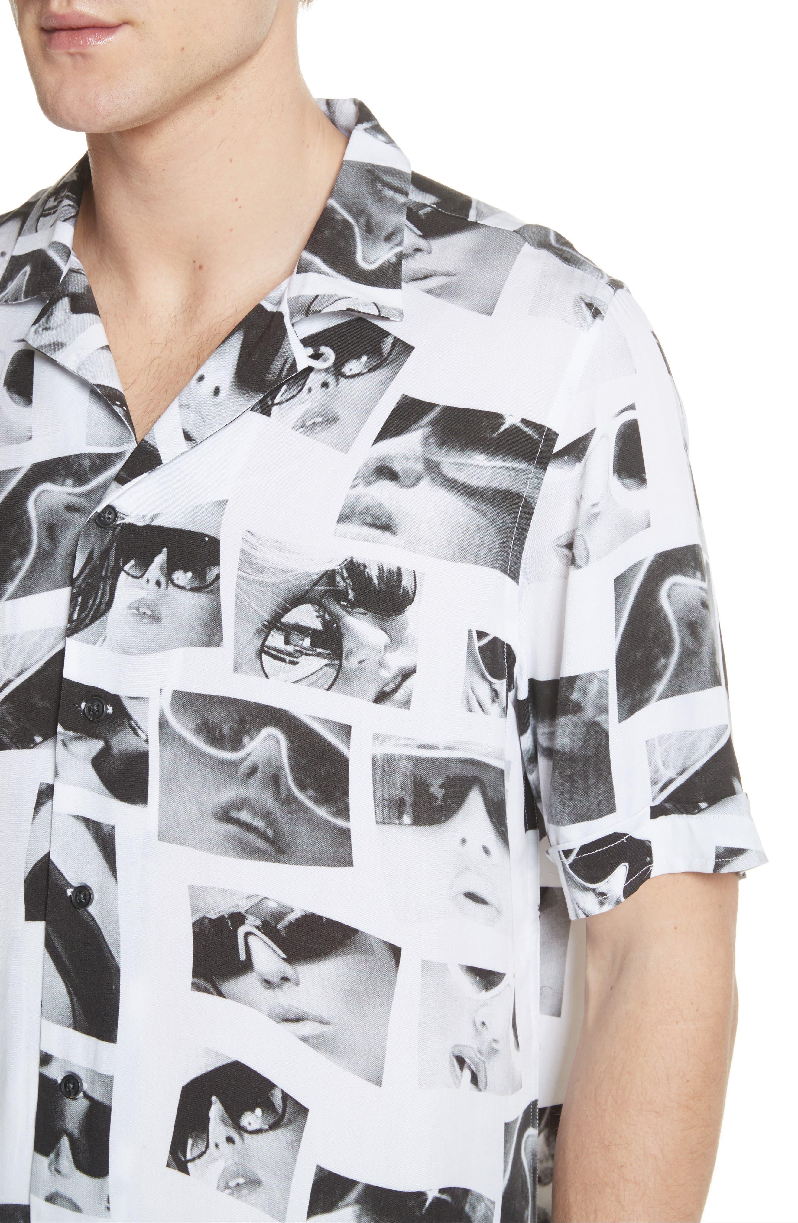 Sedation Eyes Print Camp Shirt,                             Alternate thumbnail 4, color,                             100