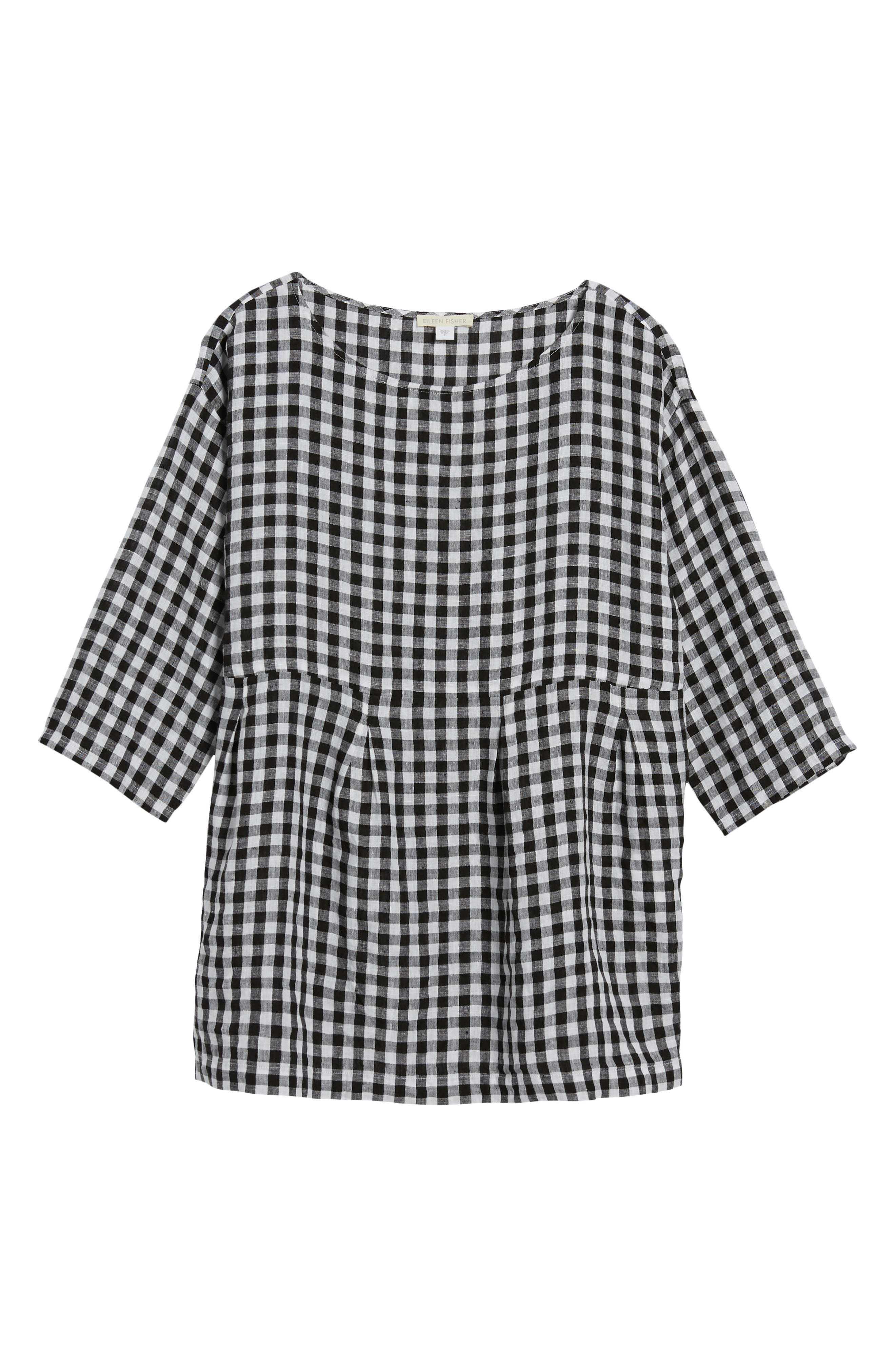 Gingham Organic Linen Top,                             Alternate thumbnail 7, color,                             018