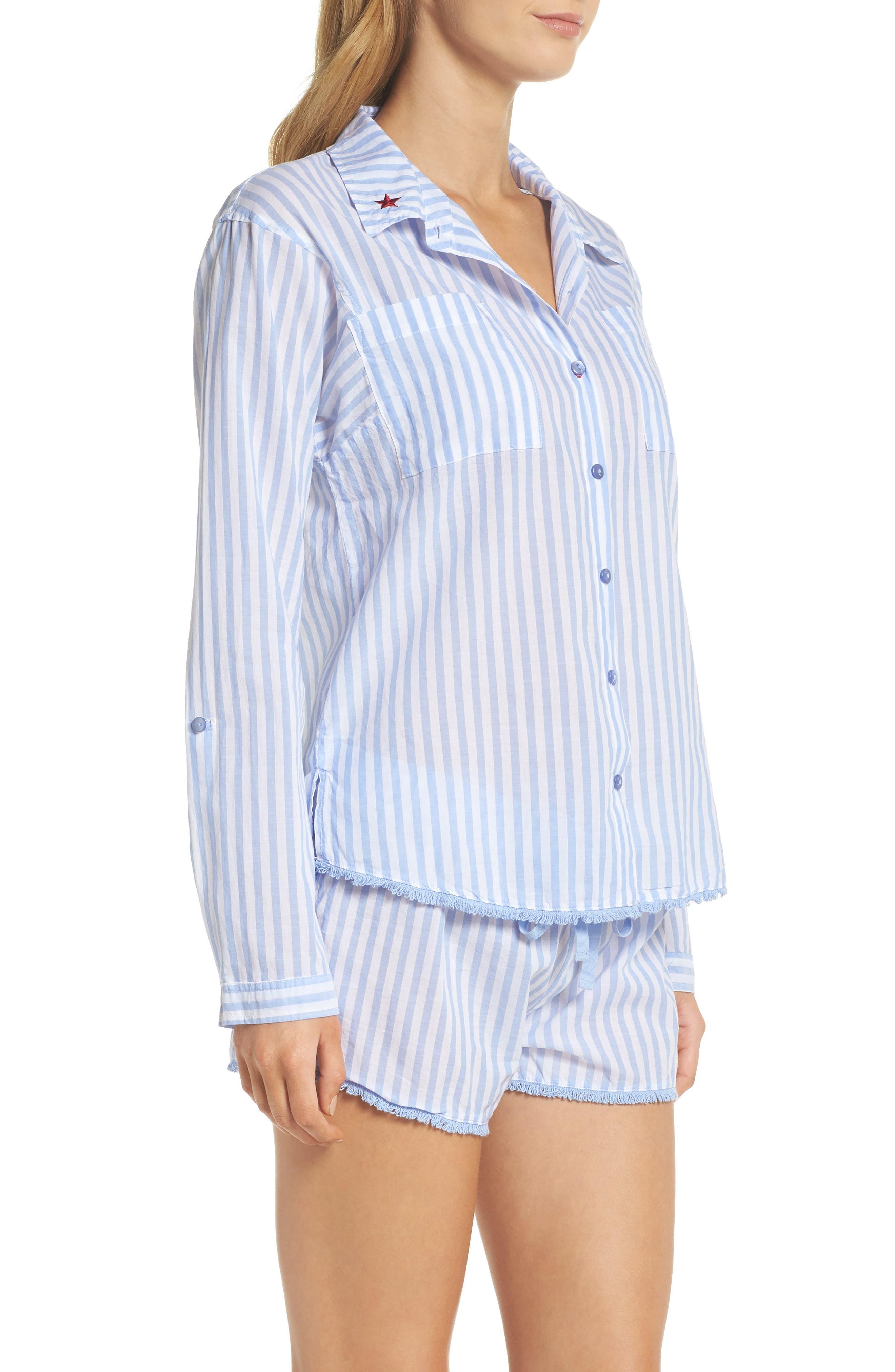 Stripe Short Pajamas,                             Alternate thumbnail 3, color,                             100