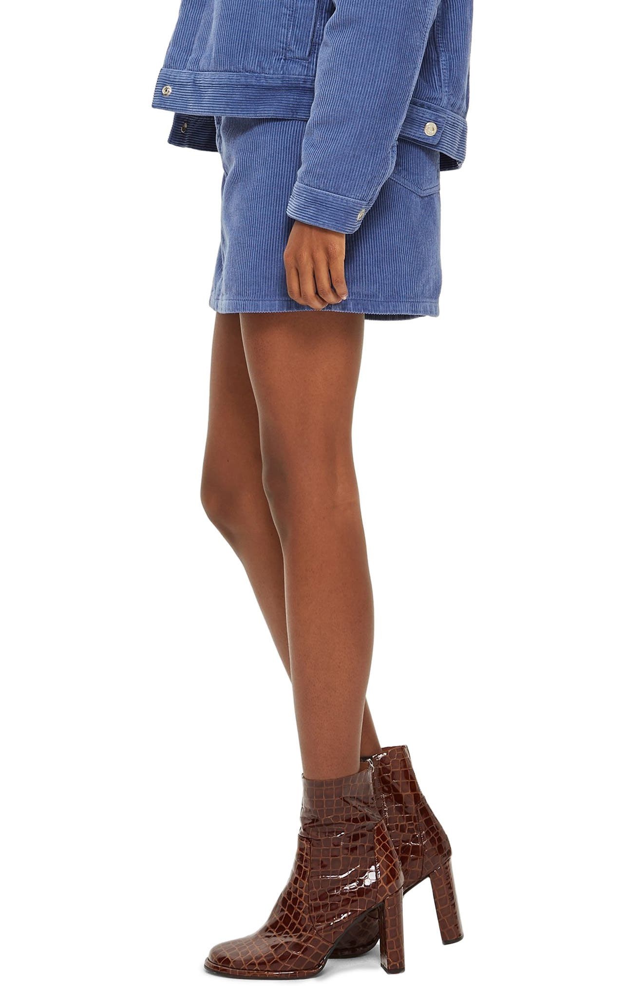TOPSHOP,                             Corduroy Skirt,                             Alternate thumbnail 3, color,                             LIGHT BLUE