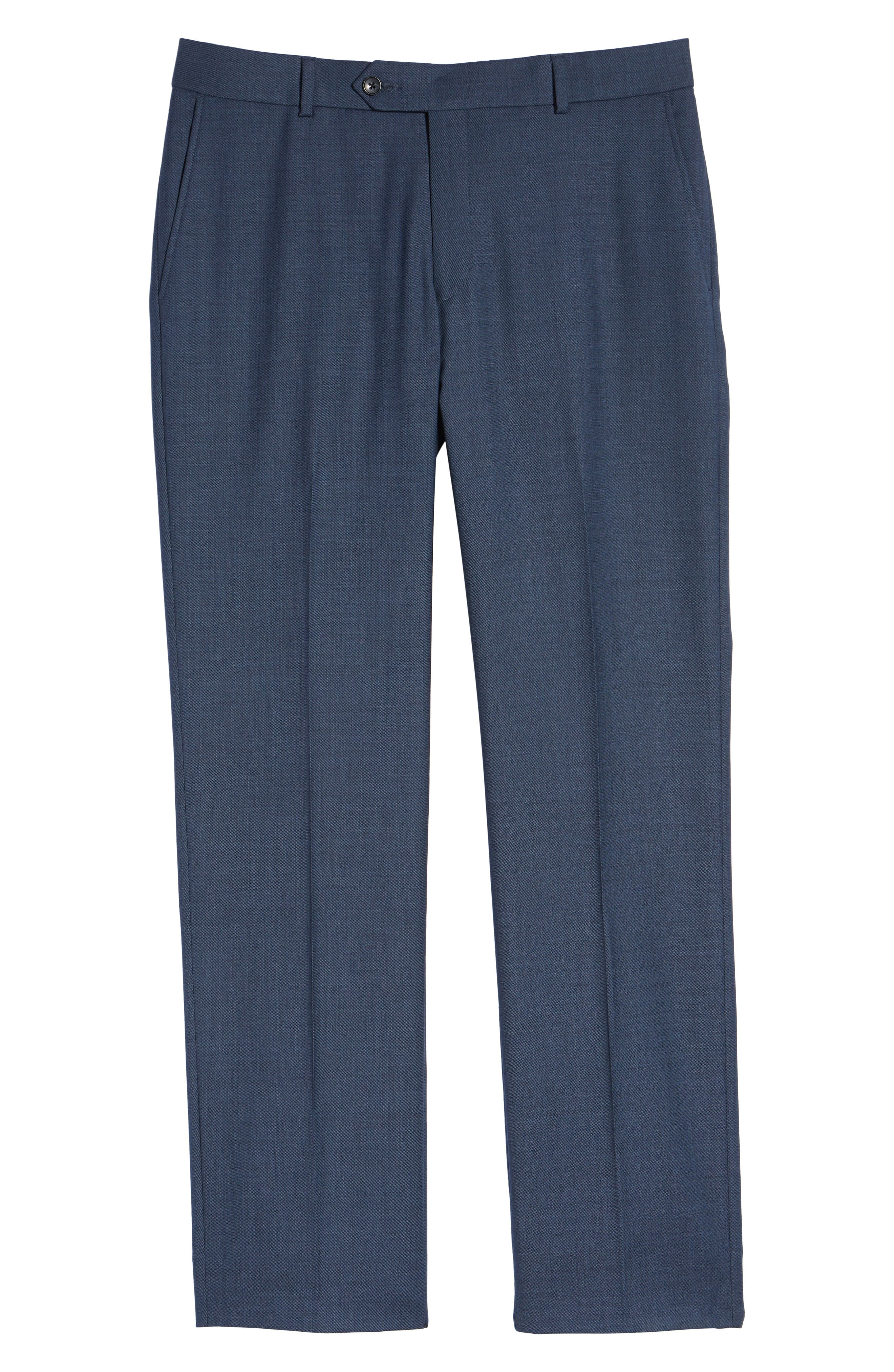Flat Front Sharkskin Wool Trousers,                             Alternate thumbnail 6, color,                             NEW NAVY