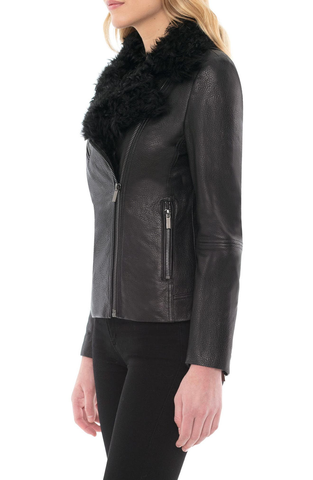 Marianne Genuine Shearling Collar Moto Jacket,                             Alternate thumbnail 3, color,                             001