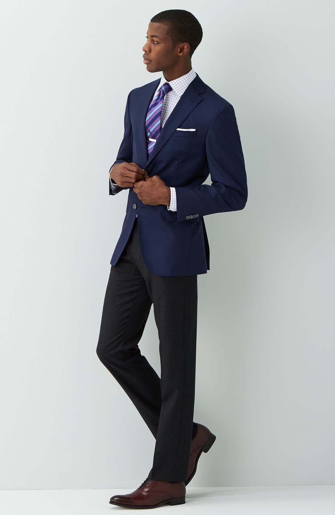DAVID DONAHUE,                             'Connor' Classic Fit Solid Wool Sport Coat,                             Alternate thumbnail 5, color,                             NAVY