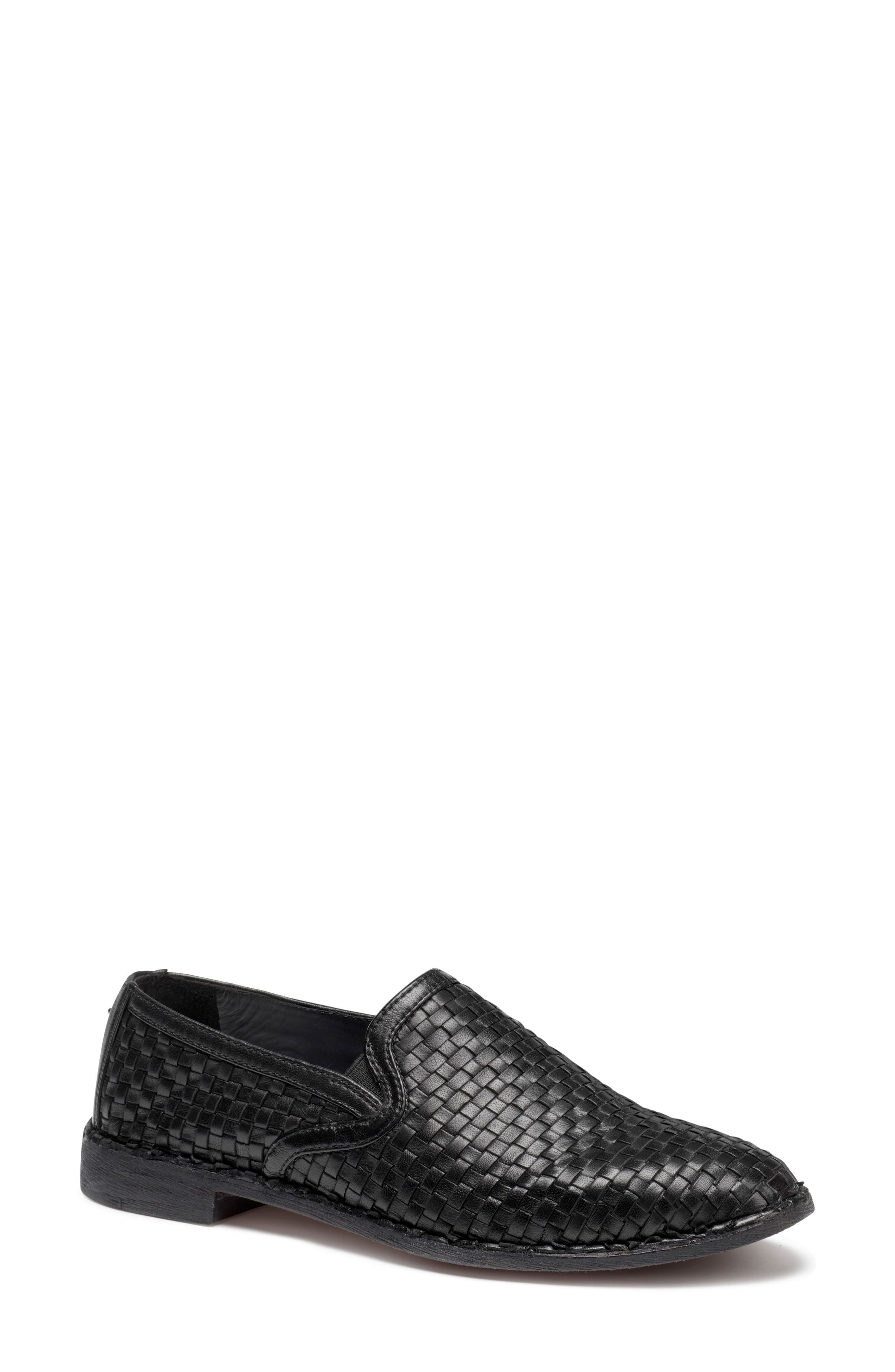 Amanda Woven Loafer,                             Main thumbnail 1, color,                             BLACK SUEDE
