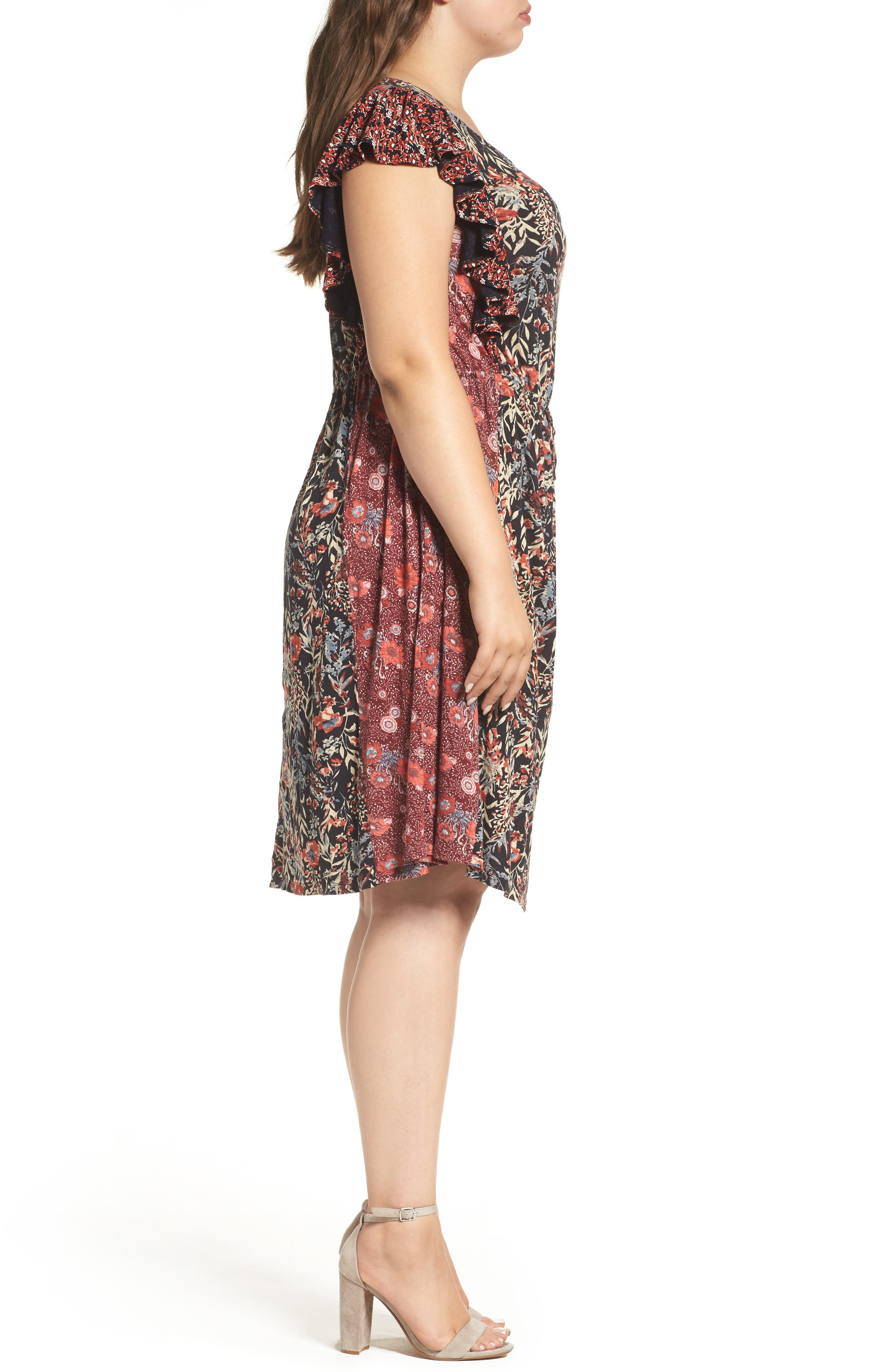 Mixed Floral Print Dress,                             Alternate thumbnail 3, color,                             640