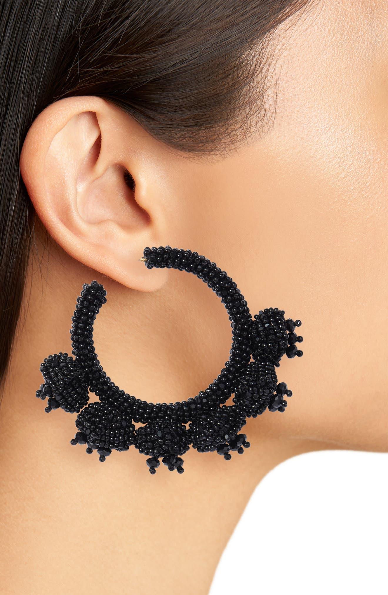 Noir Grape Cluster Hoop Earrings,                             Alternate thumbnail 2, color,                             JET