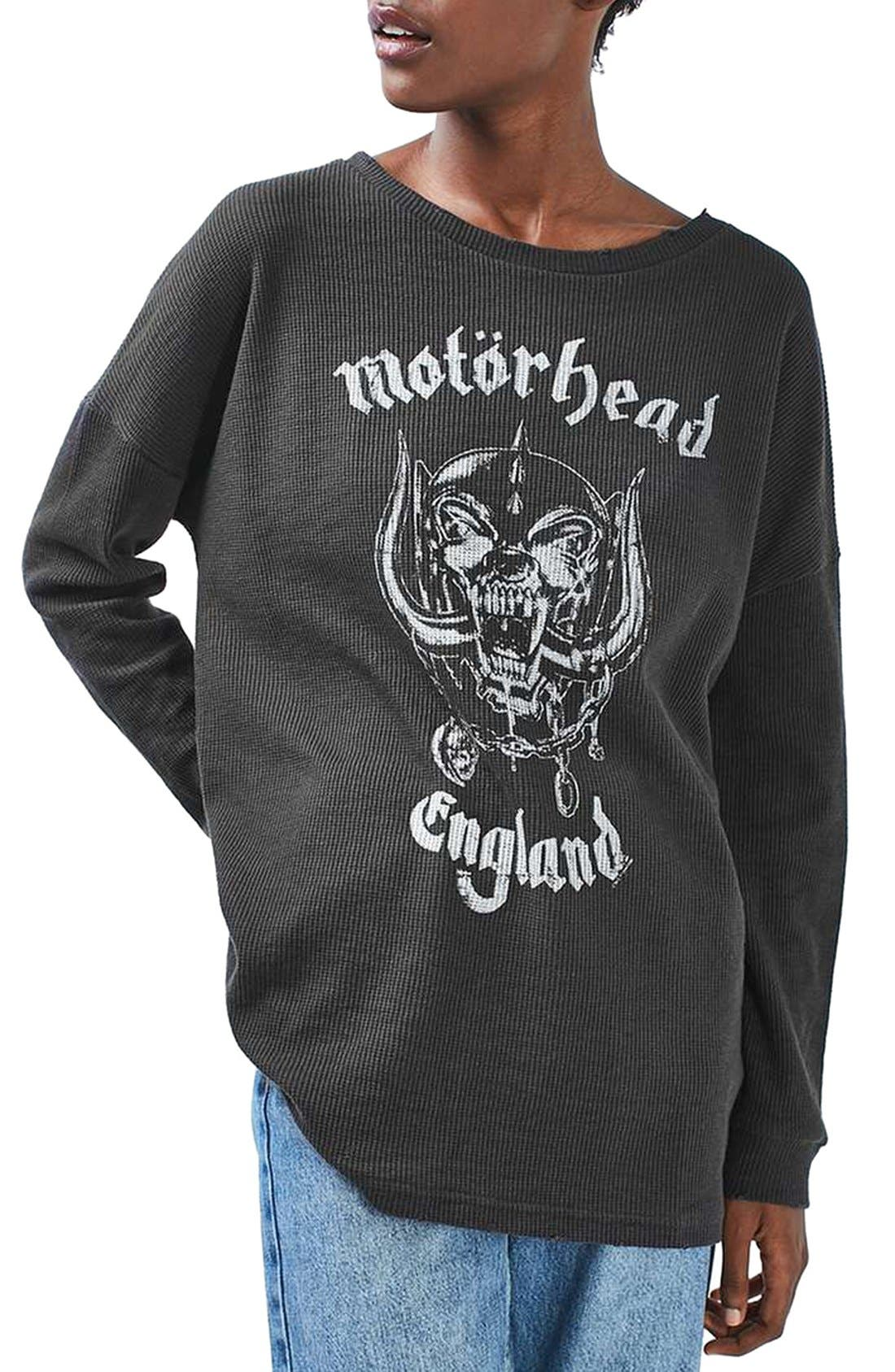 TOPSHOP by And Finally Motorhead Sweatshirt, Main, color, 001