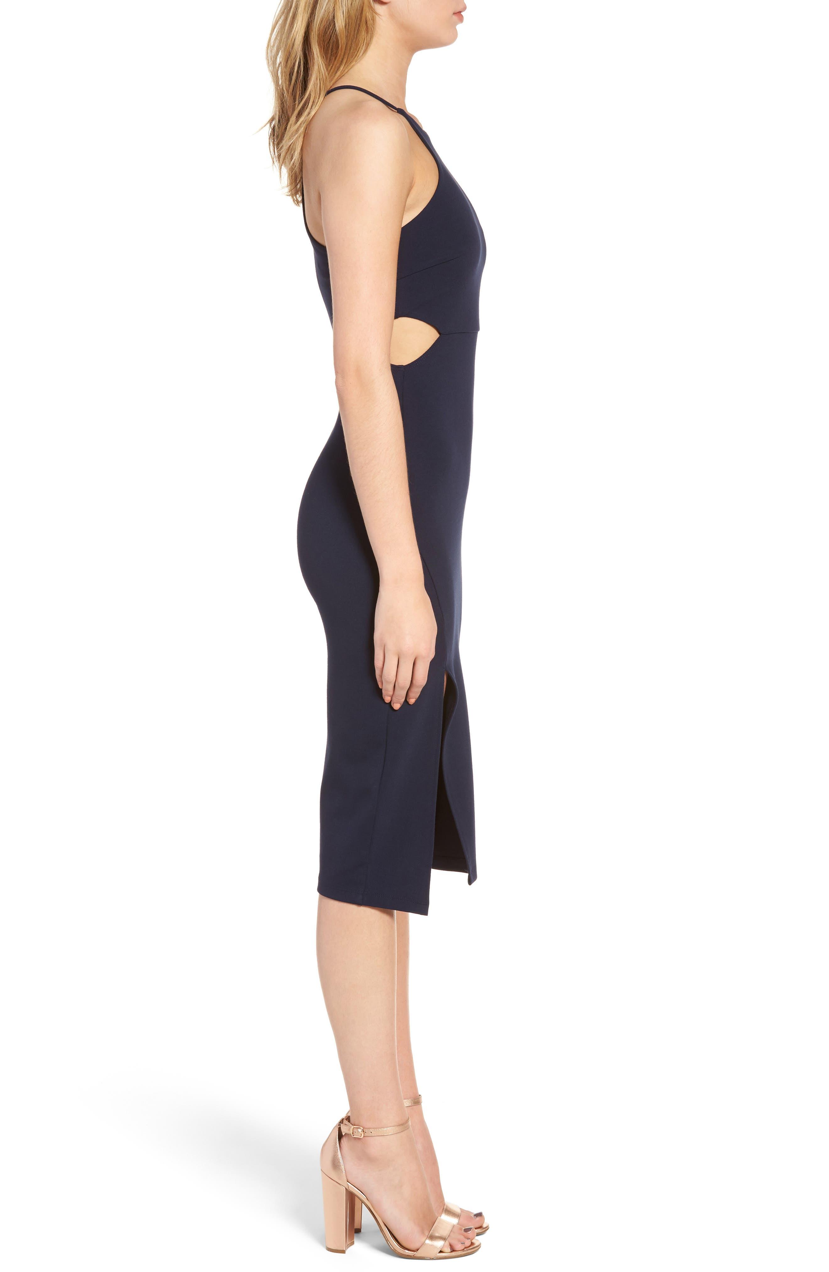 Side Cutout Body Con Dress,                             Alternate thumbnail 11, color,
