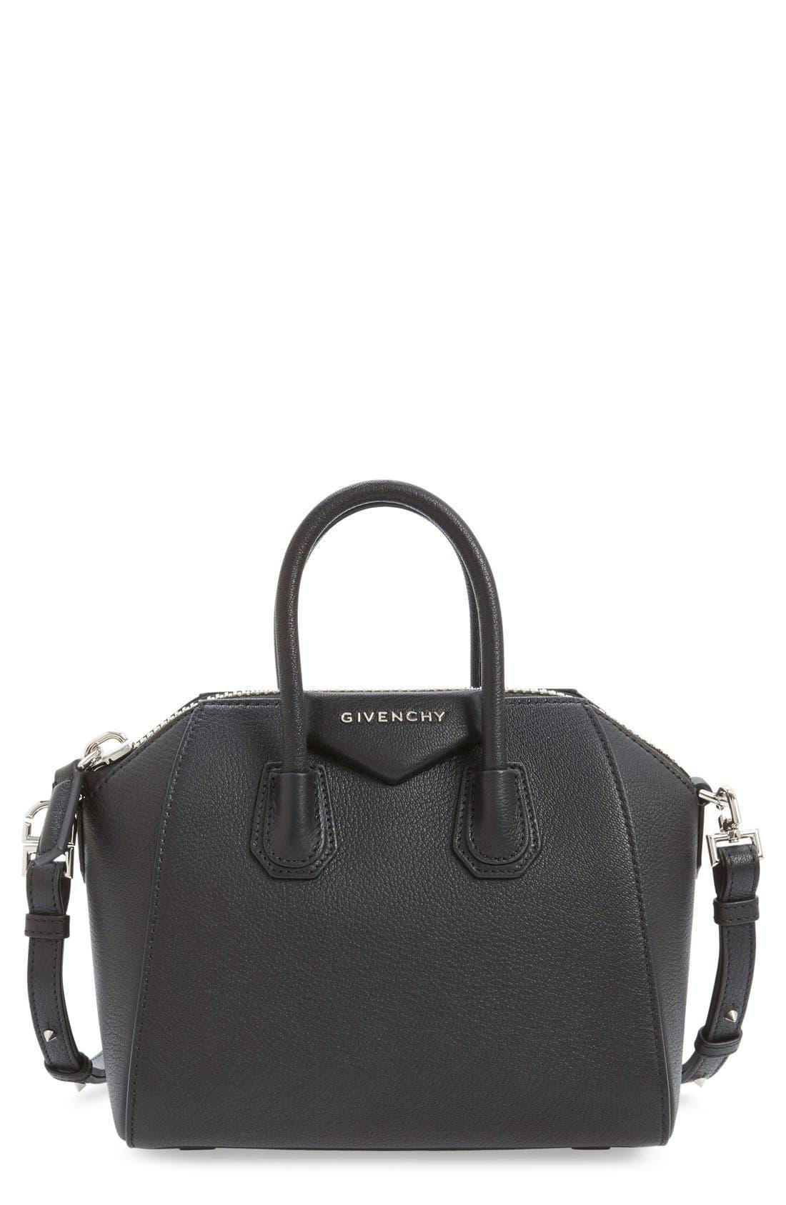 'Mini Antigona' Sugar Leather Satchel,                             Main thumbnail 1, color,                             BLACK