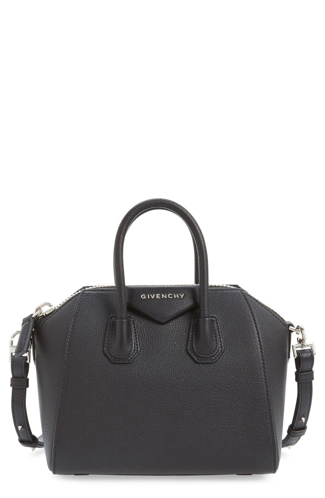 'Mini Antigona' Sugar Leather Satchel,                         Main,                         color, BLACK
