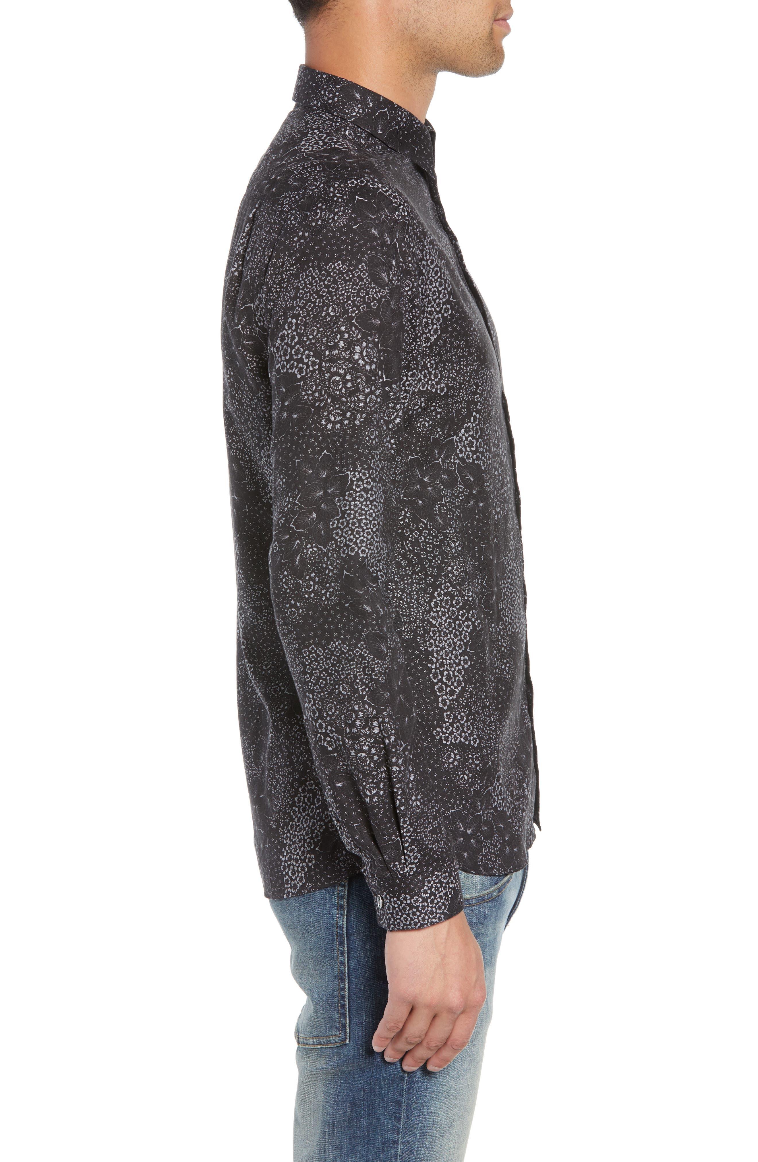 Slim Fit Print Sport Shirt,                             Alternate thumbnail 4, color,                             BLACK