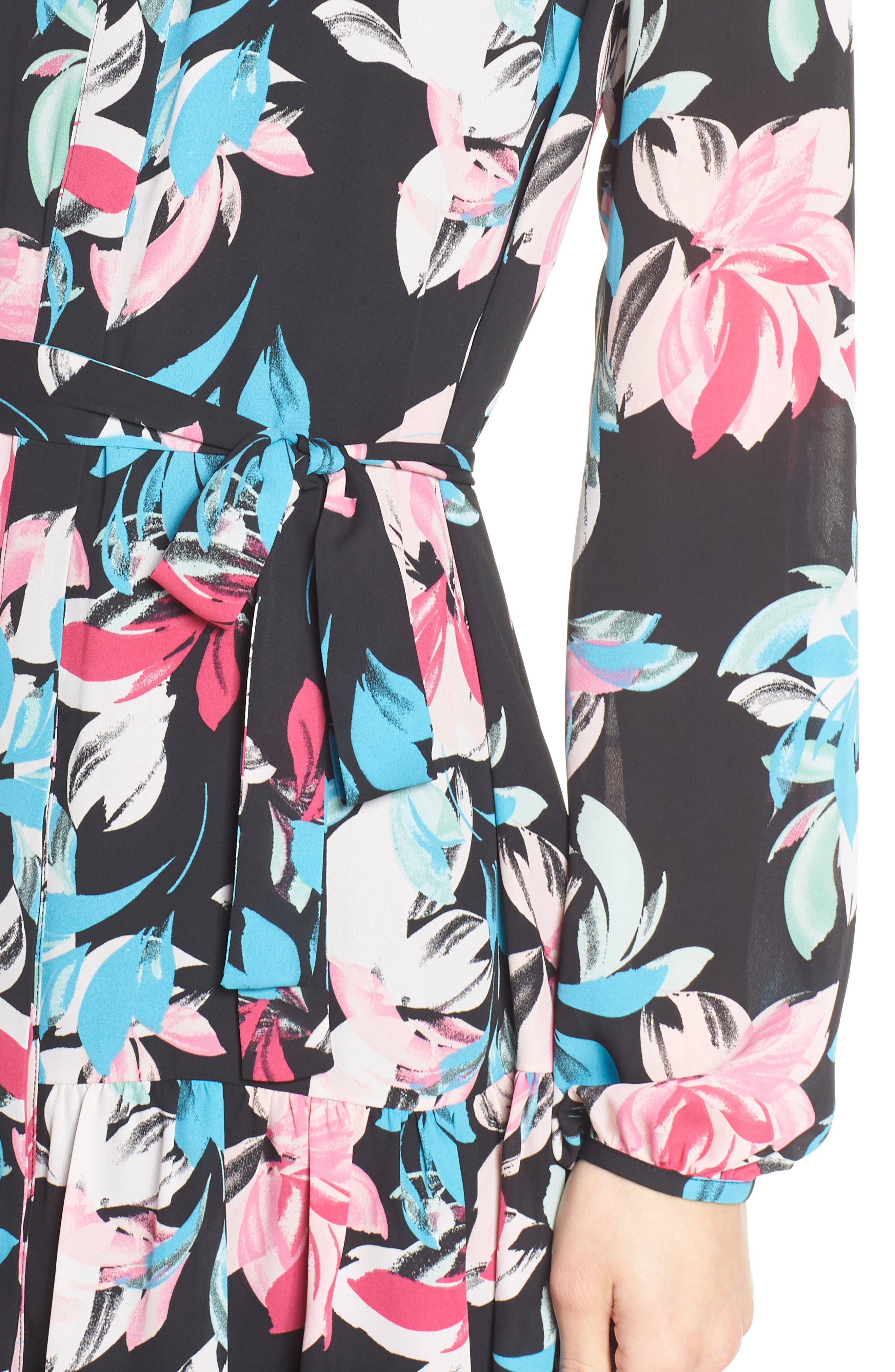 Ruffle Hem Henley Shirtdress,                             Alternate thumbnail 4, color,                             BLACK FLORAL
