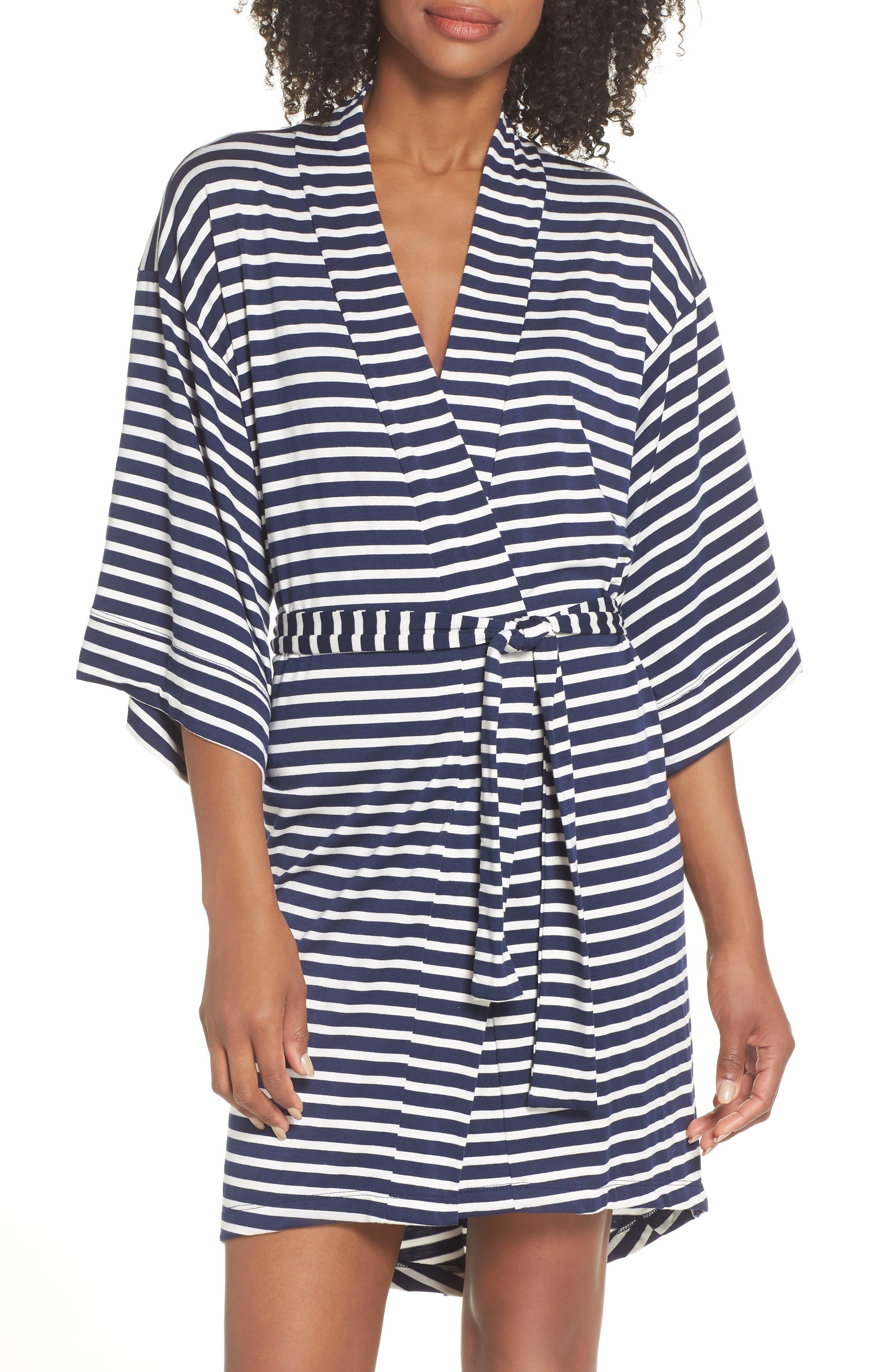 MAISON DU SOIR Florence Short Robe in Navy Stripe