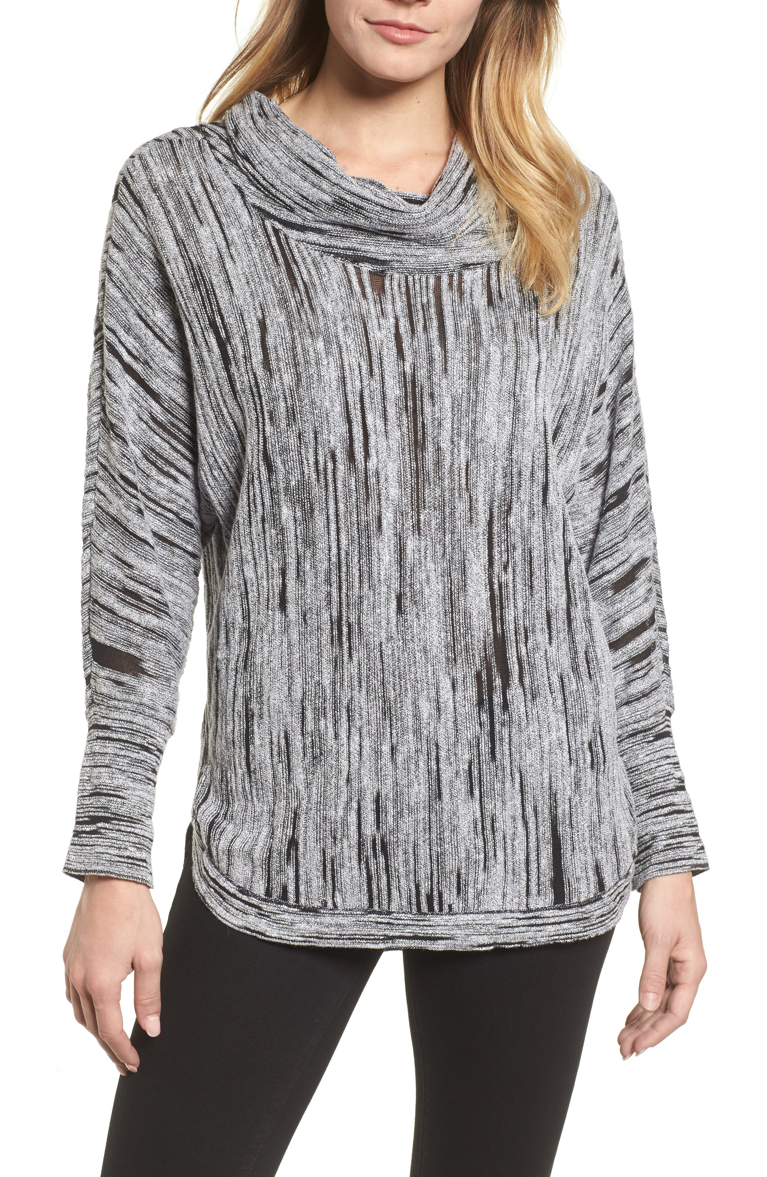 Cowl Neck Open Stitch Sweater,                         Main,                         color, 004