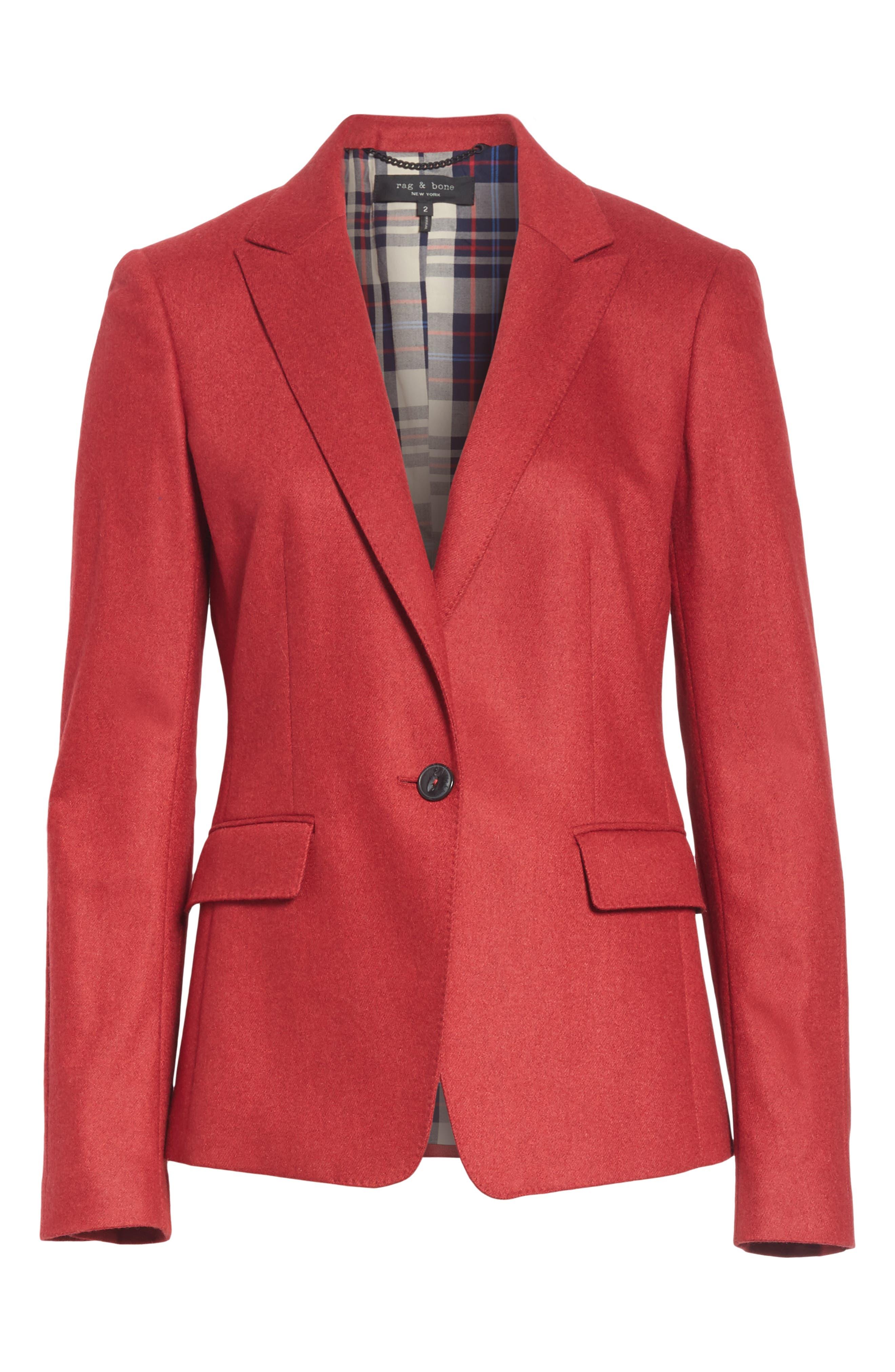 Lexington Wool Blend Blazer,                             Alternate thumbnail 4, color,                             RED MELANGE