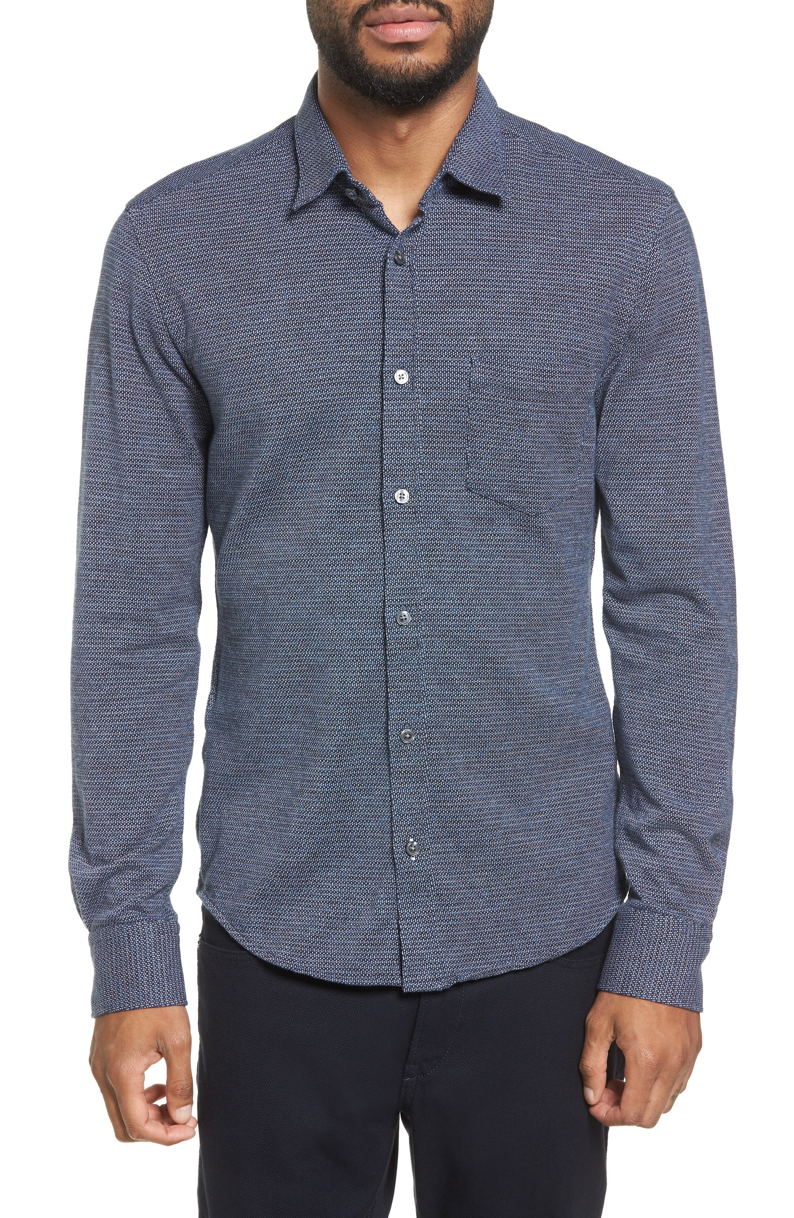 Reid Slim Fit Jersey Sport Shirt,                             Main thumbnail 1, color,                             001