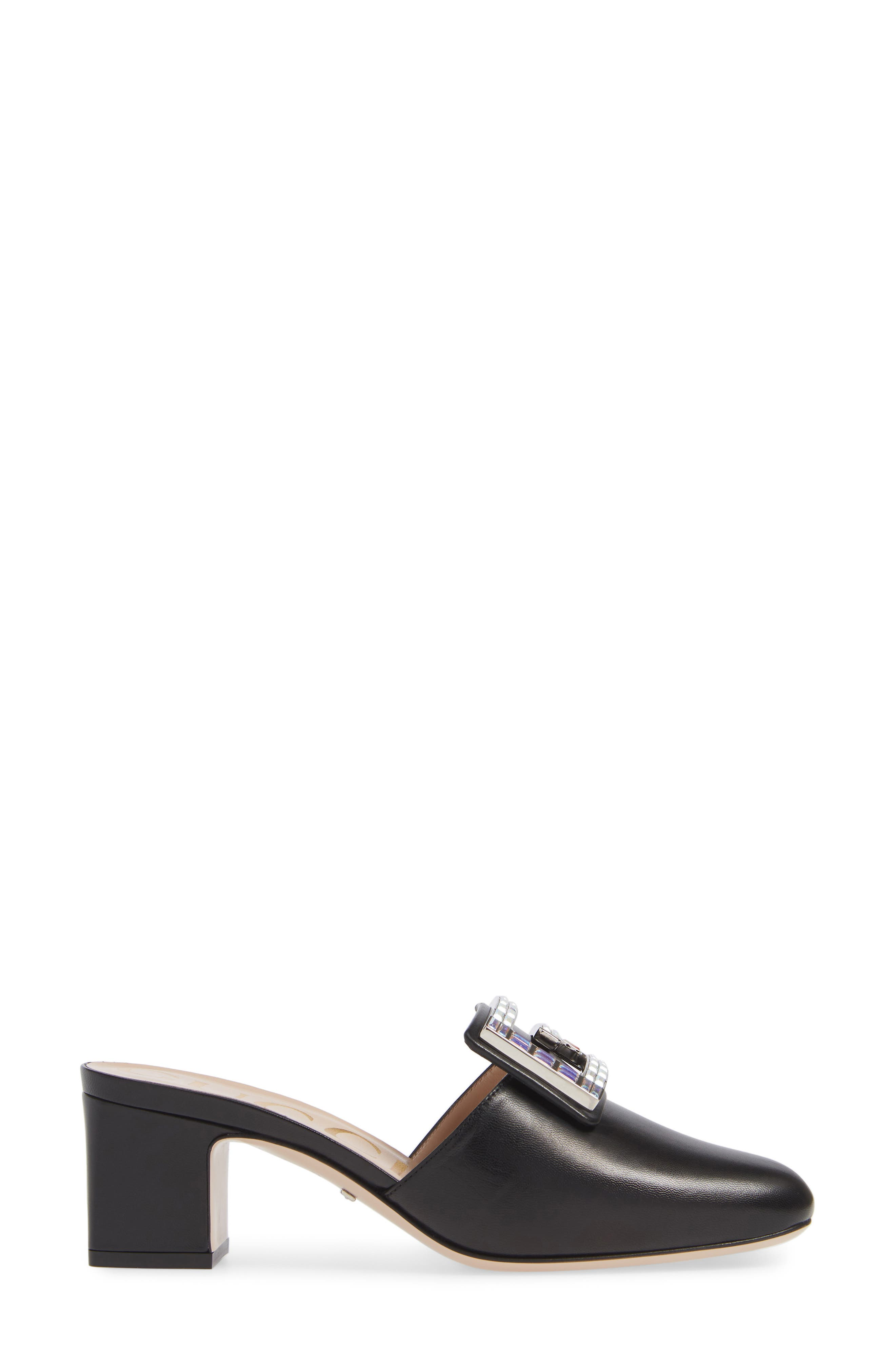 Madelyn Crystal G Mule,                             Alternate thumbnail 3, color,                             BLACK LEATHER