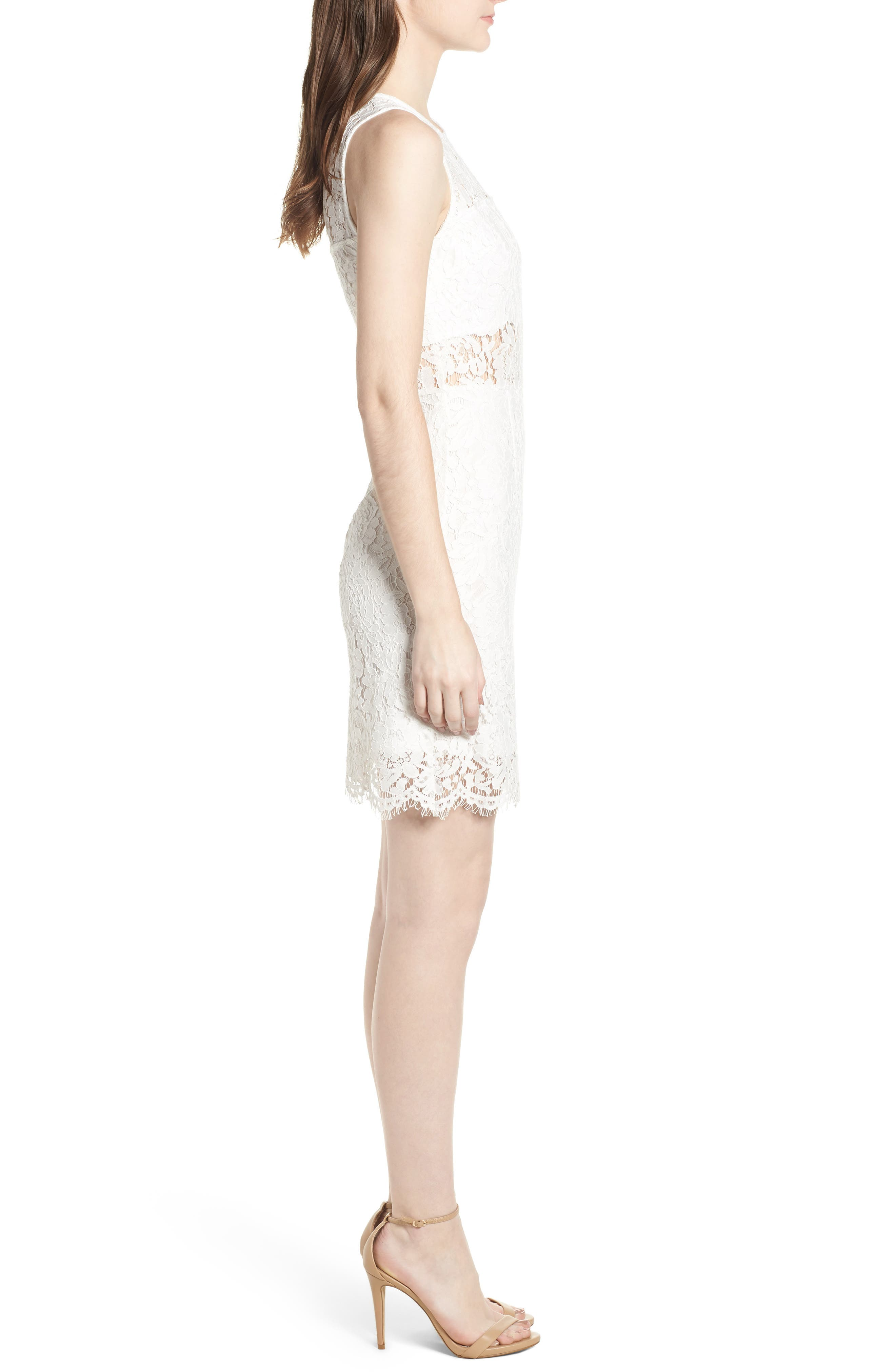 Lace Sheath Dress,                             Alternate thumbnail 3, color,                             900