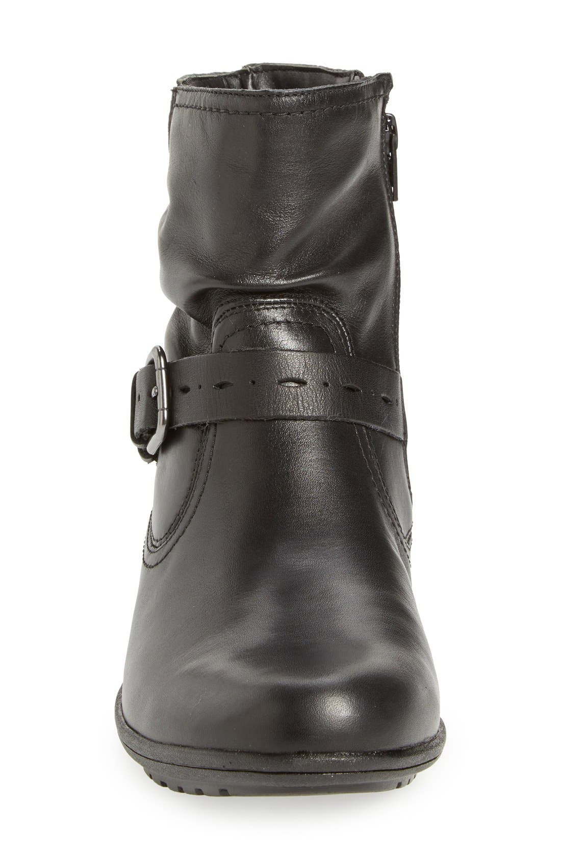 'Riley' Waterproof Buckle Strap Bootie,                             Alternate thumbnail 4, color,                             BLACK LEATHER