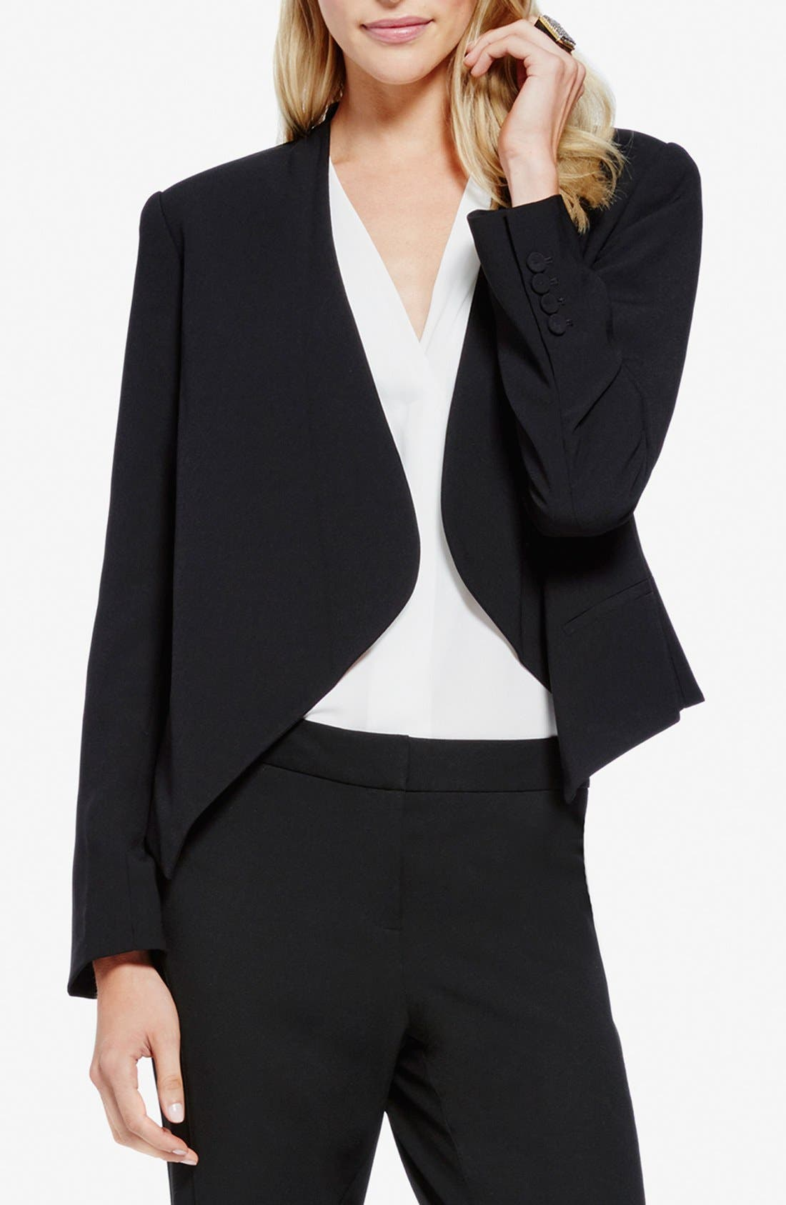 Drape Front Blazer,                             Main thumbnail 1, color,                             RICH BLACK