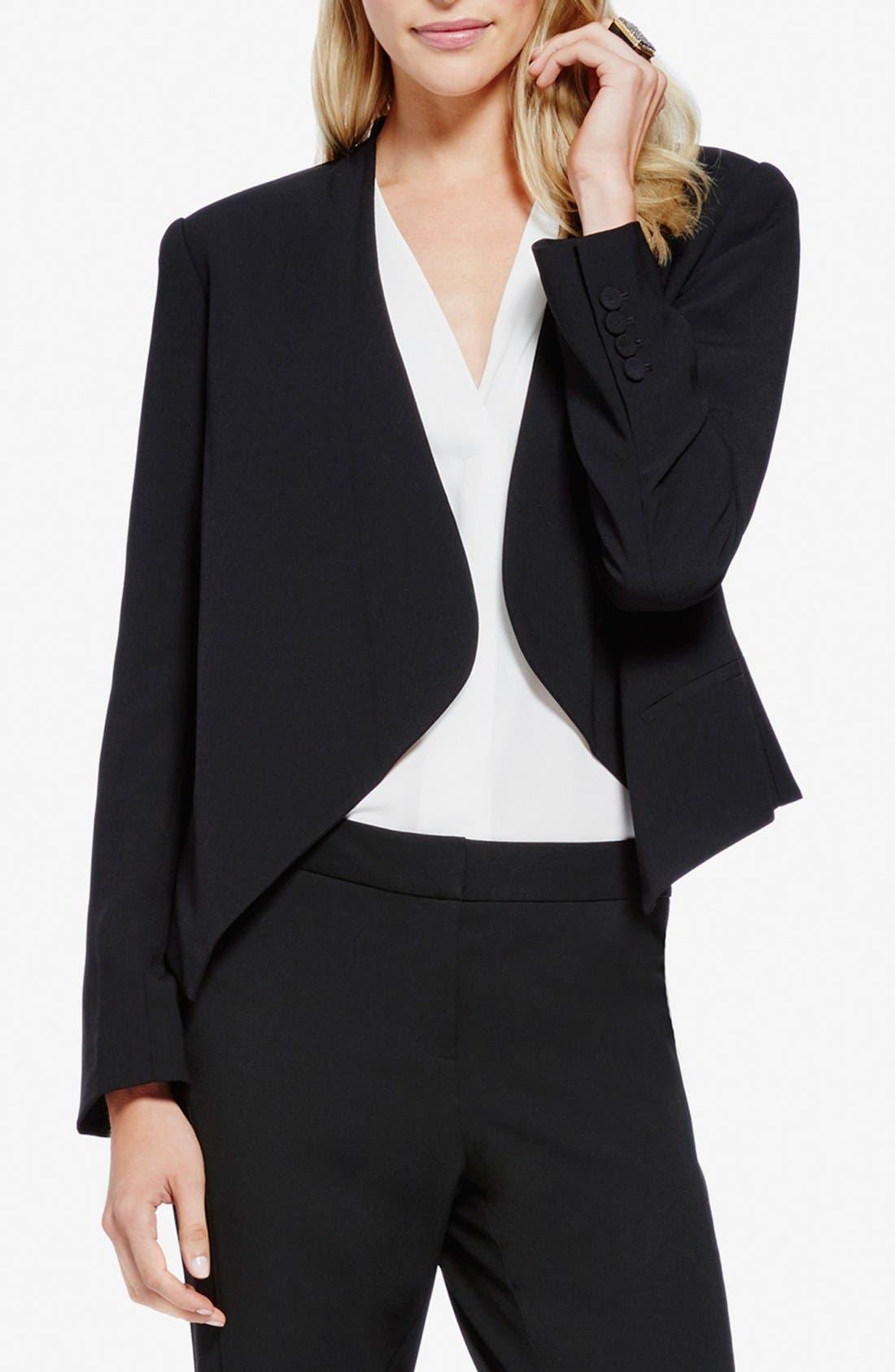 Drape Front Blazer,                         Main,                         color, RICH BLACK