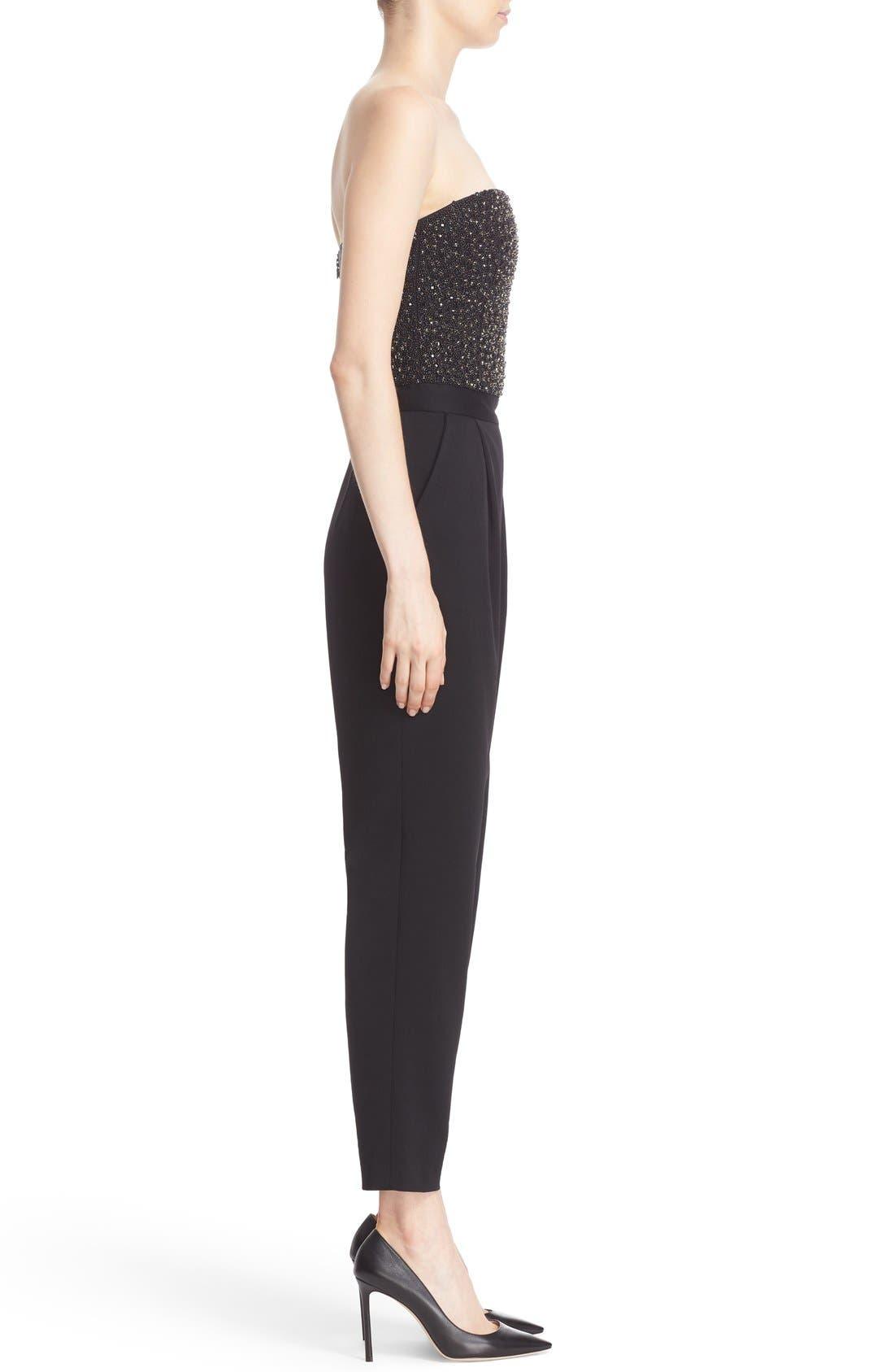 ALICE + OLIVIA,                             'Jeri' Beaded Bodice Strapless Jumpsuit,                             Alternate thumbnail 4, color,                             001