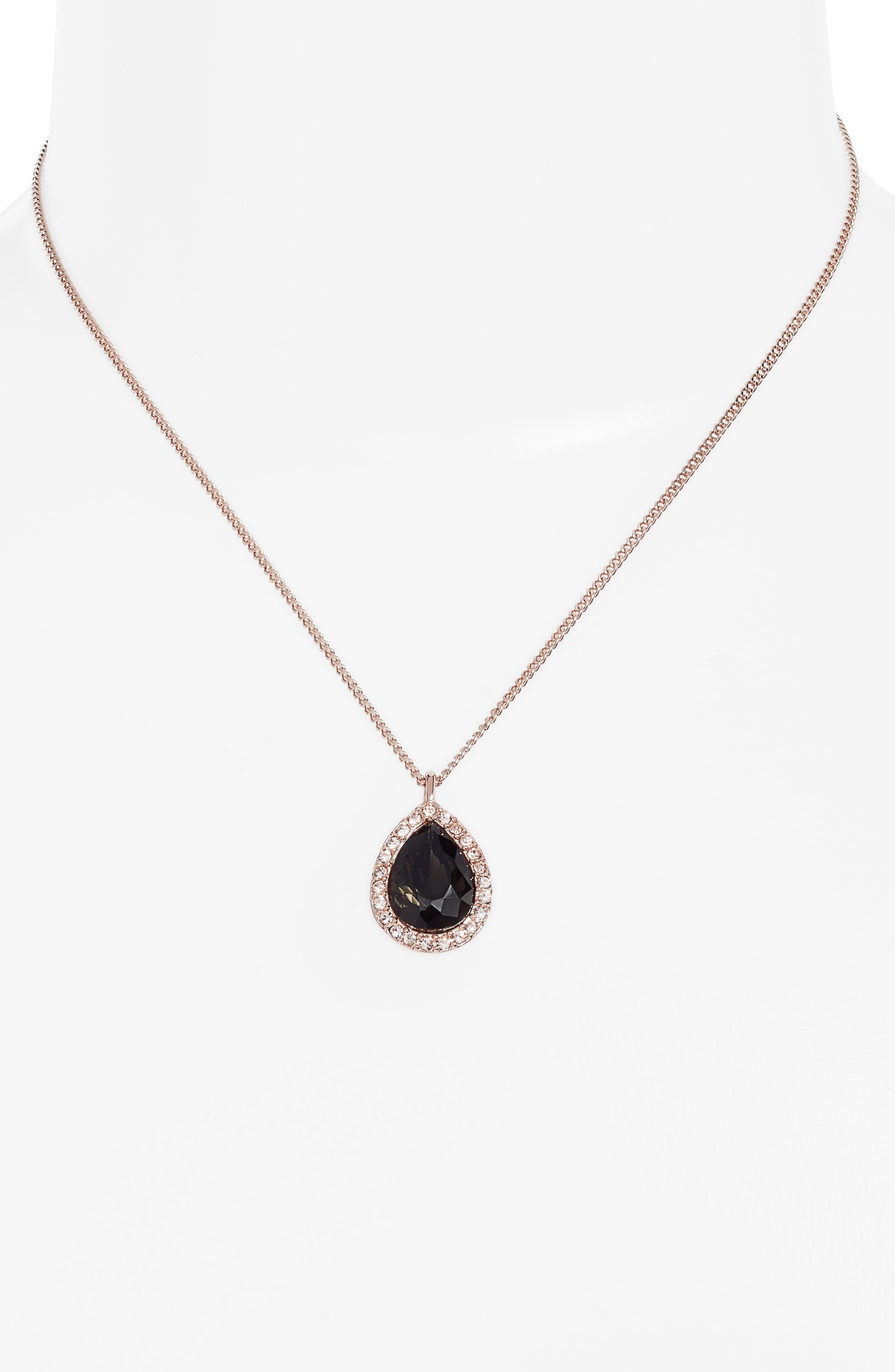 Pavé Pear Pendant Necklace,                             Alternate thumbnail 2, color,                             020