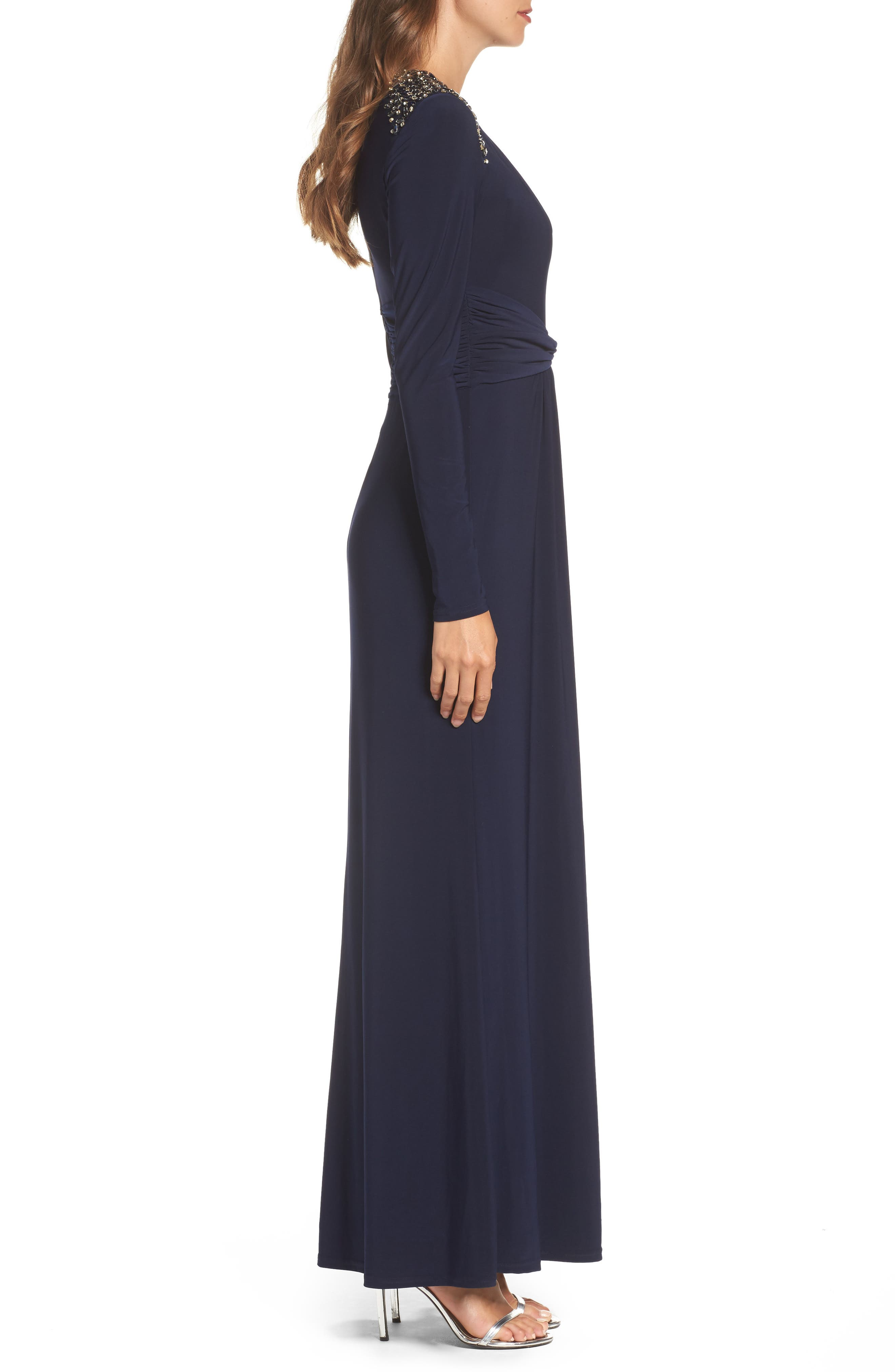 Embellished Ruched Waist Gown,                             Alternate thumbnail 3, color,                             410
