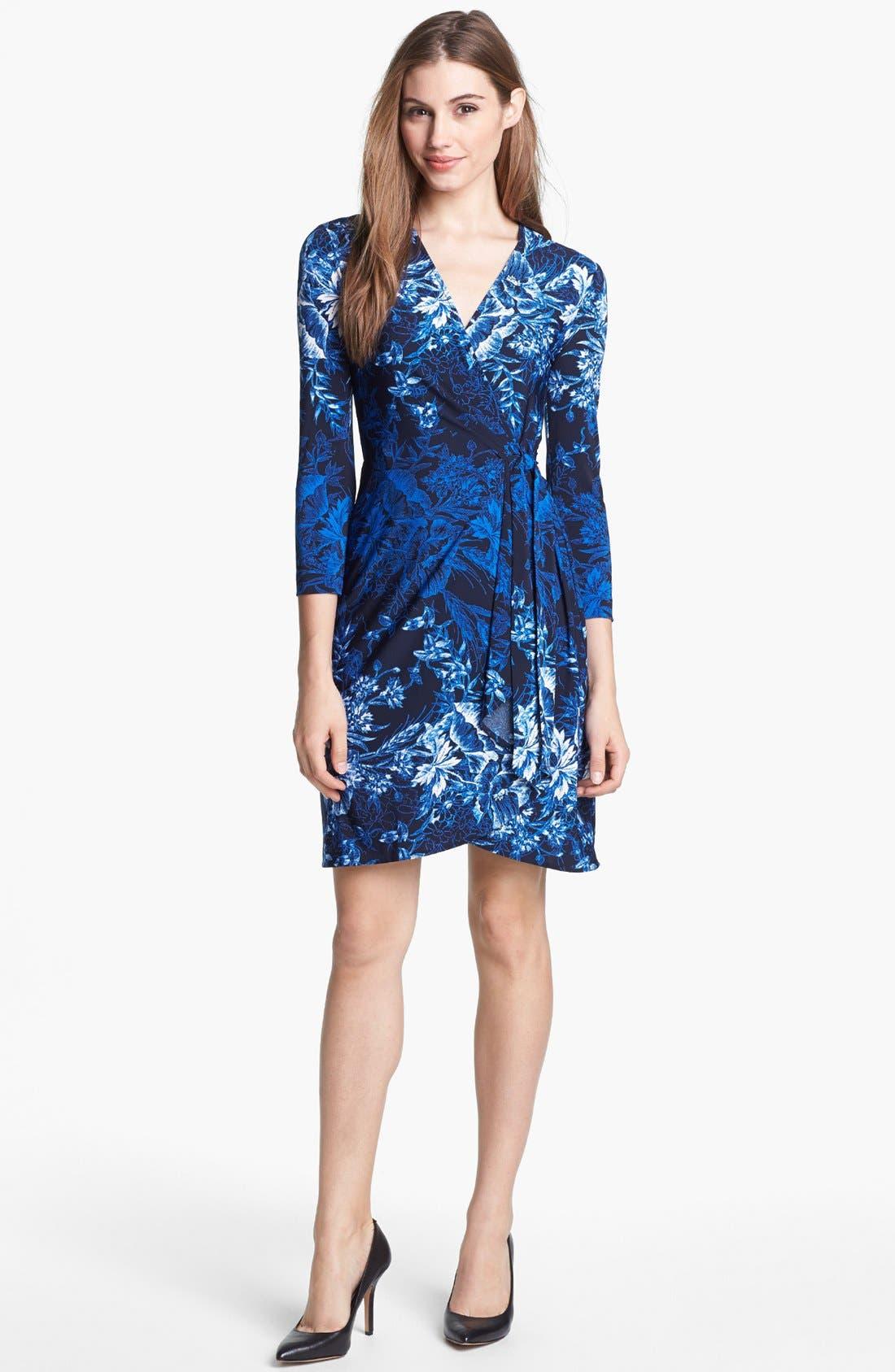 BCBGMAXAZRIA Print Jersey Wrap Dress, Main, color, 474