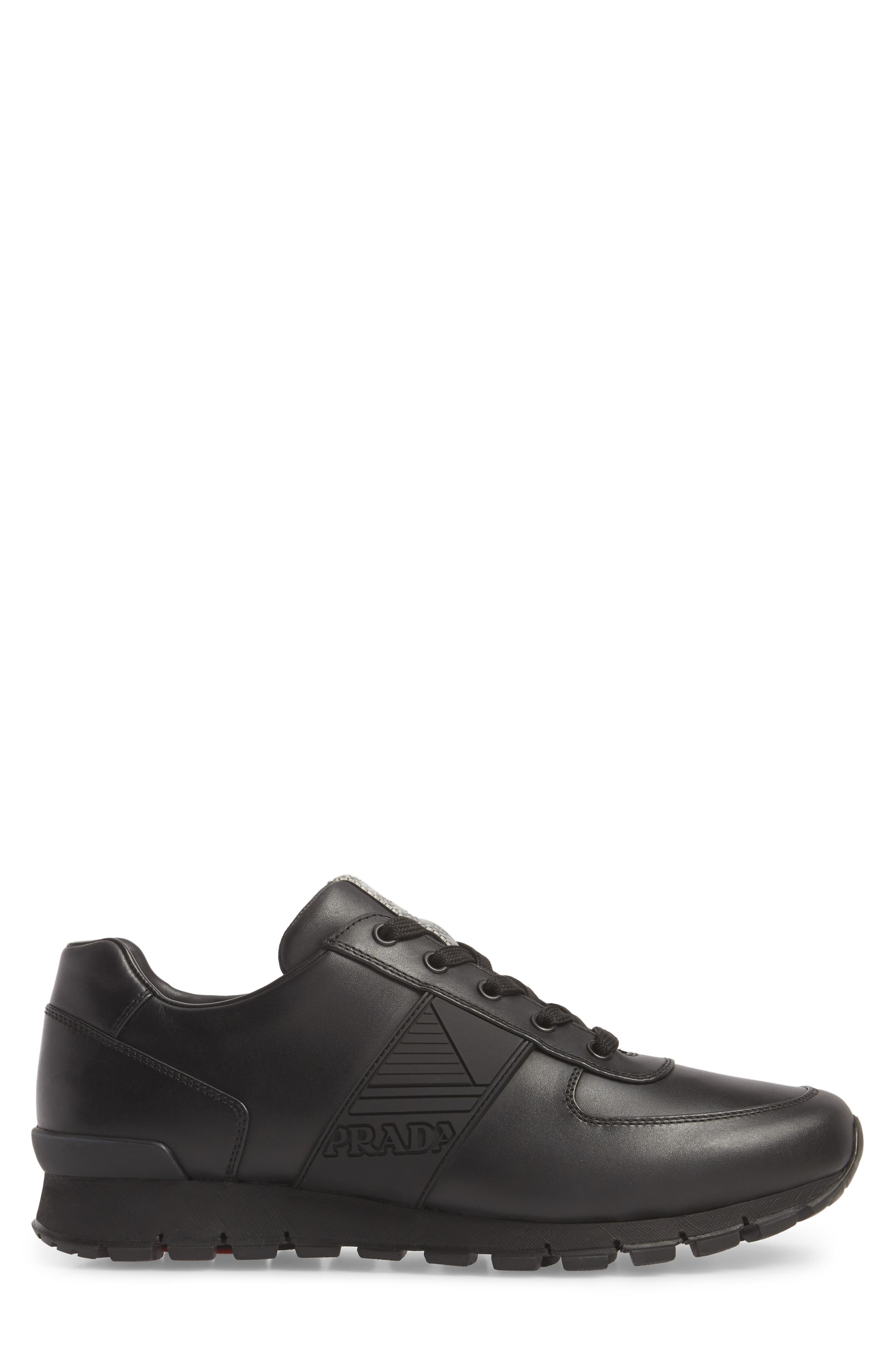 PRADA,                             Linea Rossa Sneaker,                             Alternate thumbnail 3, color,                             001