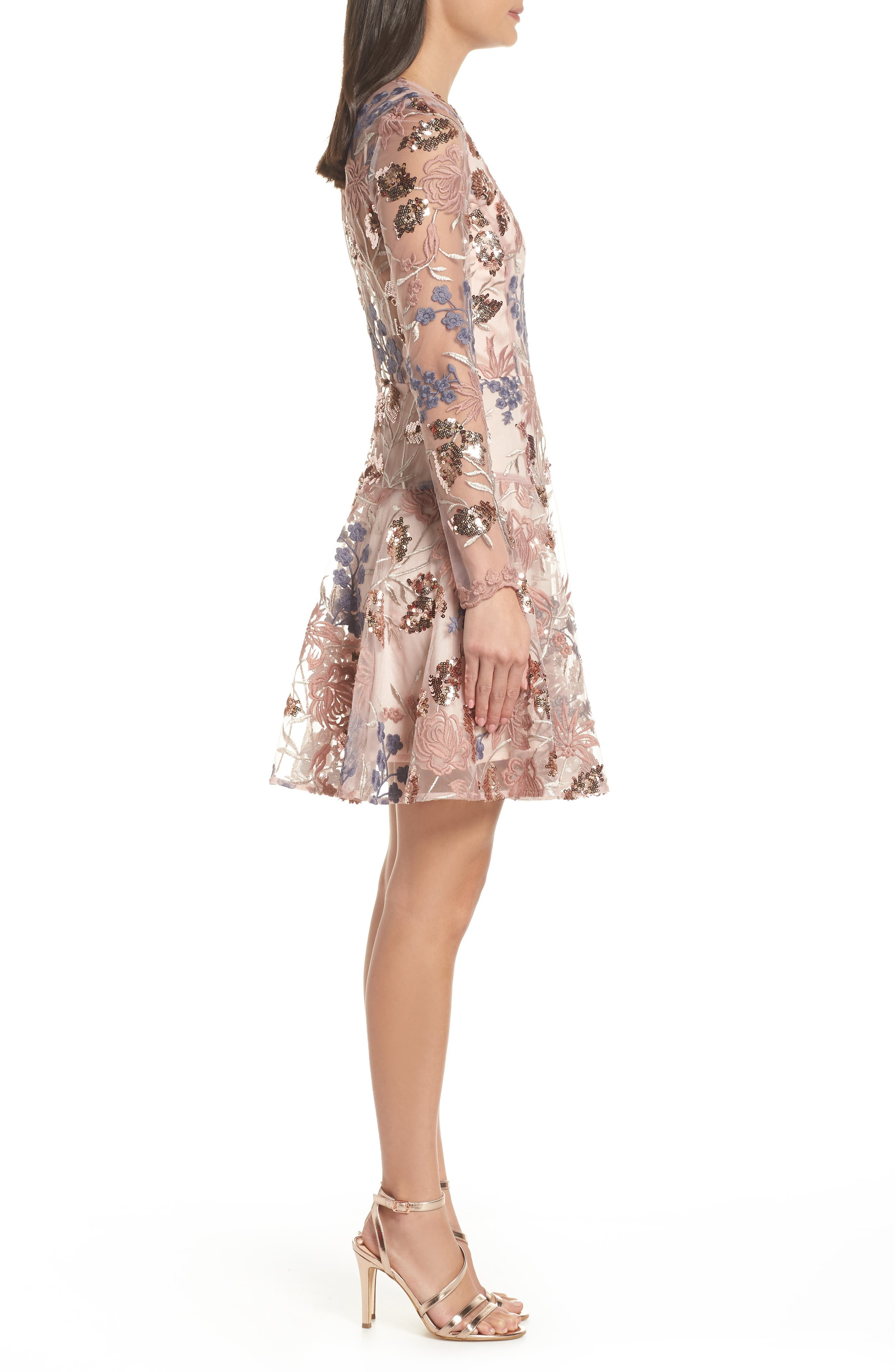 BRONX AND BANCO,                             Aurora Embroidered Fit & Flare Dress,                             Alternate thumbnail 4, color,                             PINK