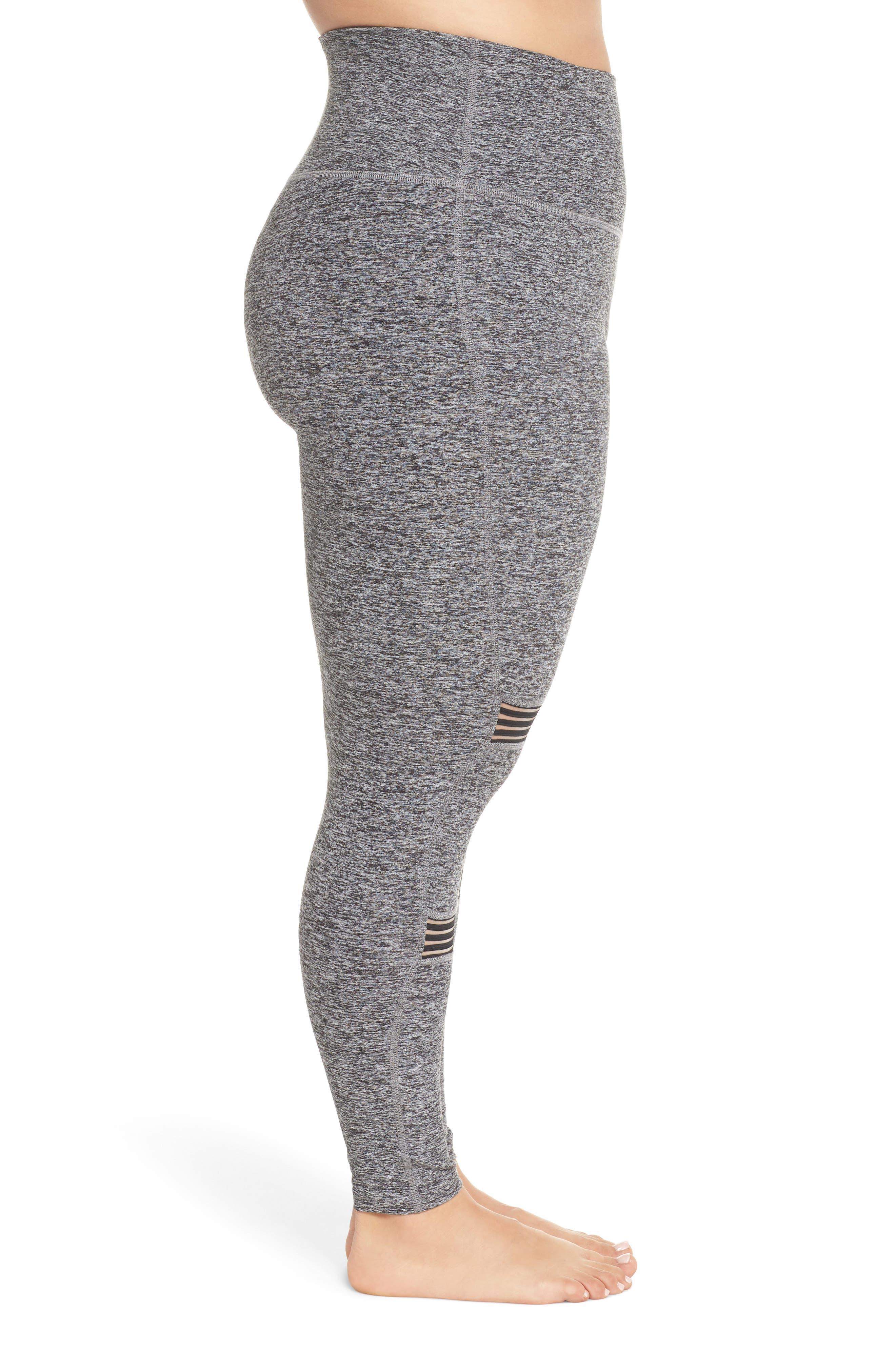 Mirage Midi High Waist Space Dye Leggings,                             Alternate thumbnail 3, color,                             BLACK WHITE