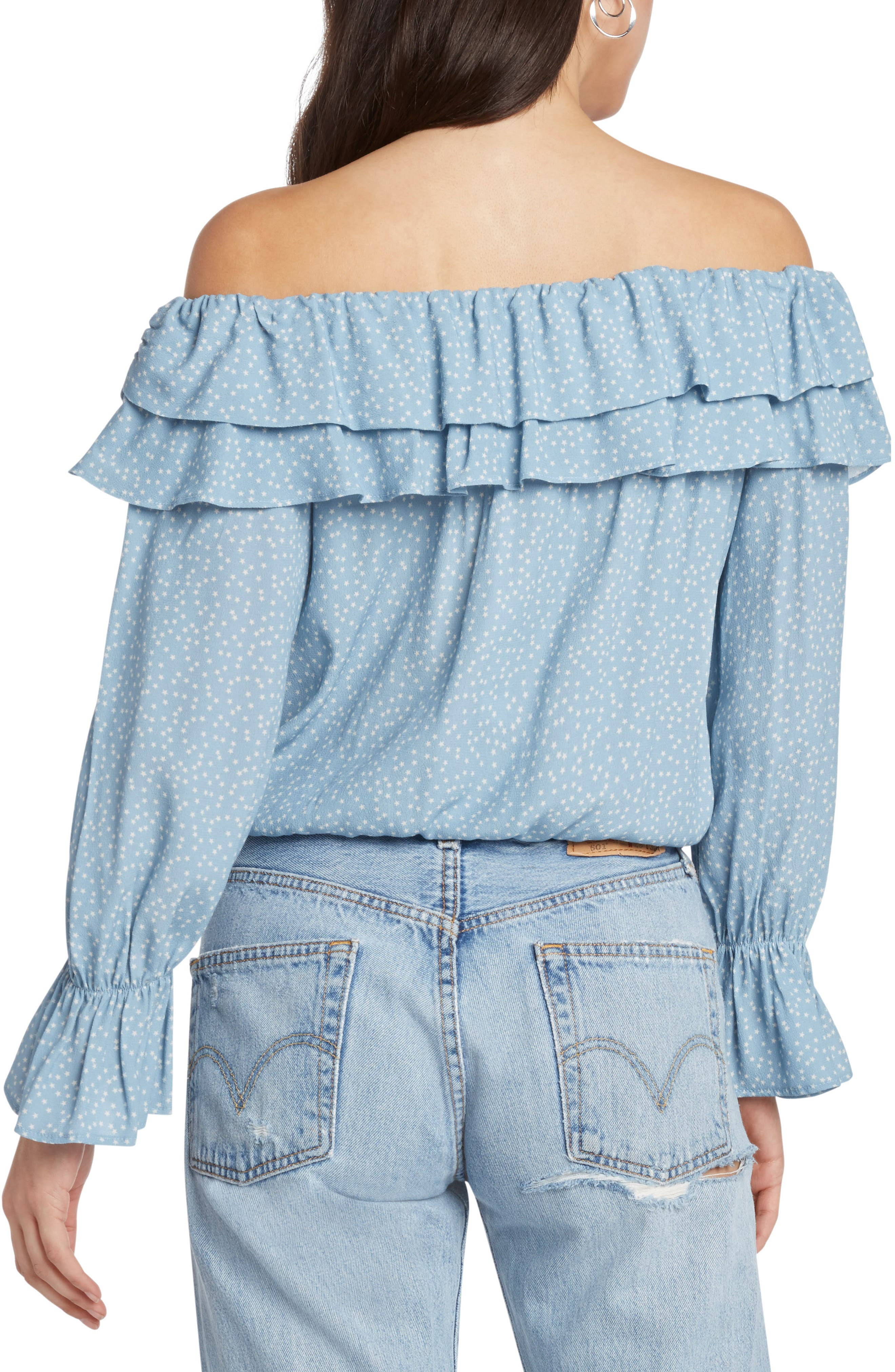 Star Print Off the Shoulder Top,                             Alternate thumbnail 2, color,                             FRENCH BLUE