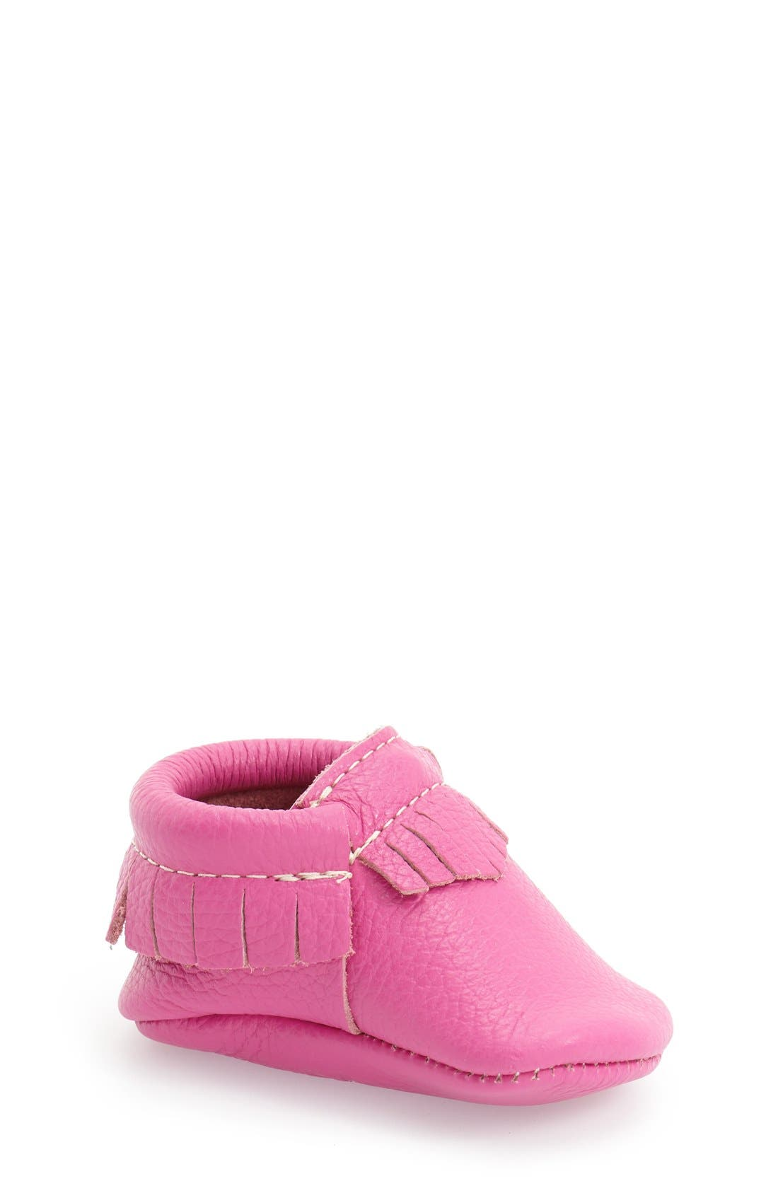 Leather Moccasin,                         Main,                         color, MAGENTA