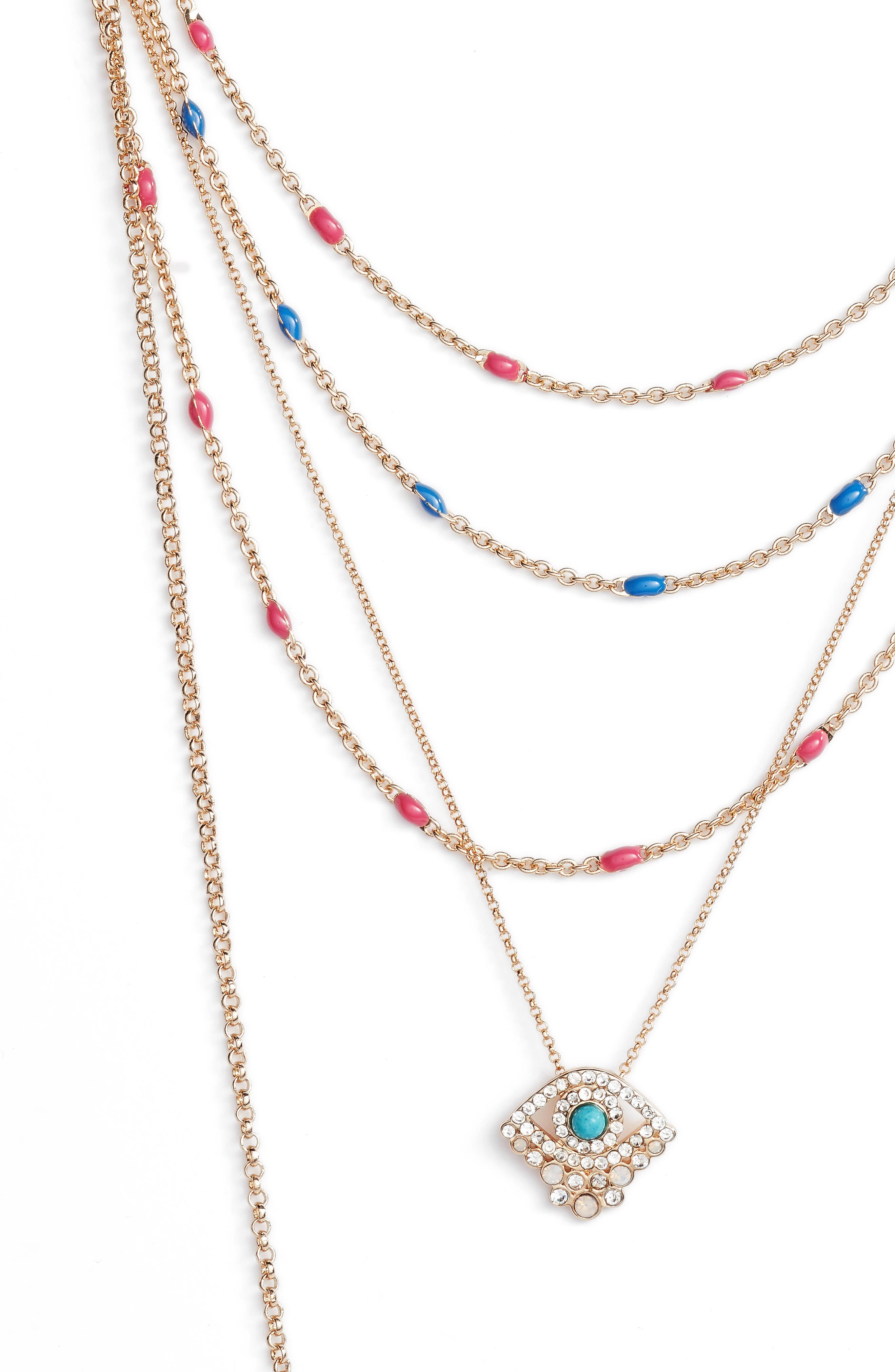 Beachy Layered Chains Necklace,                             Alternate thumbnail 3, color,
