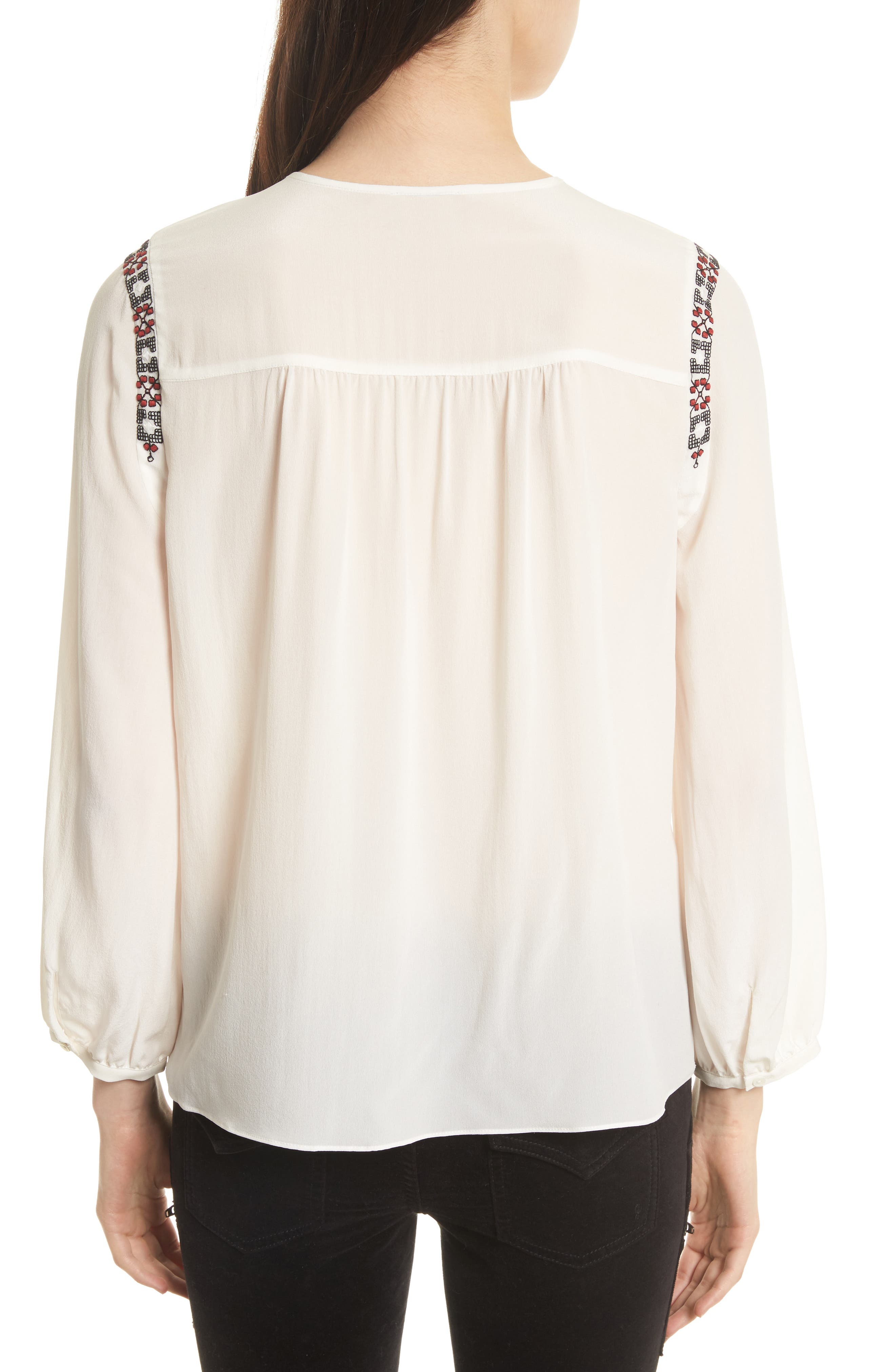 Clema Embroidered Bib Silk Top,                             Alternate thumbnail 2, color,                             114
