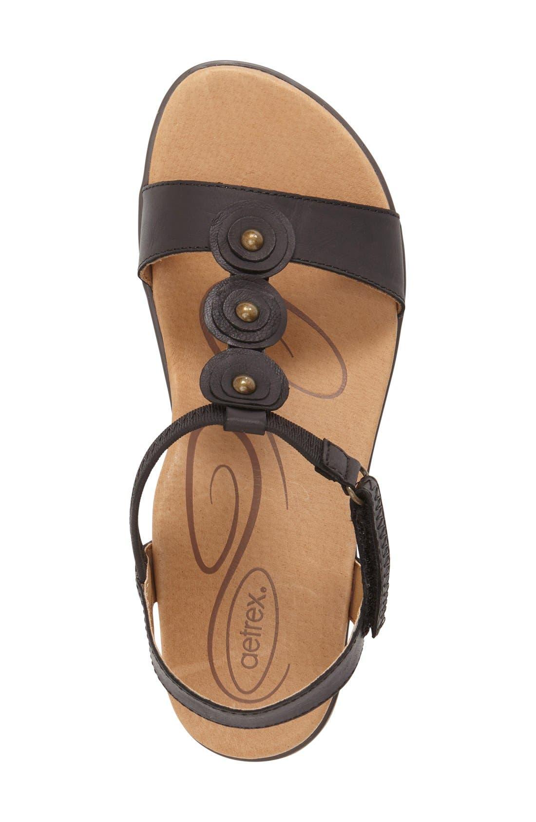'Sharon' T-Strap Sandal,                             Alternate thumbnail 4, color,                             001