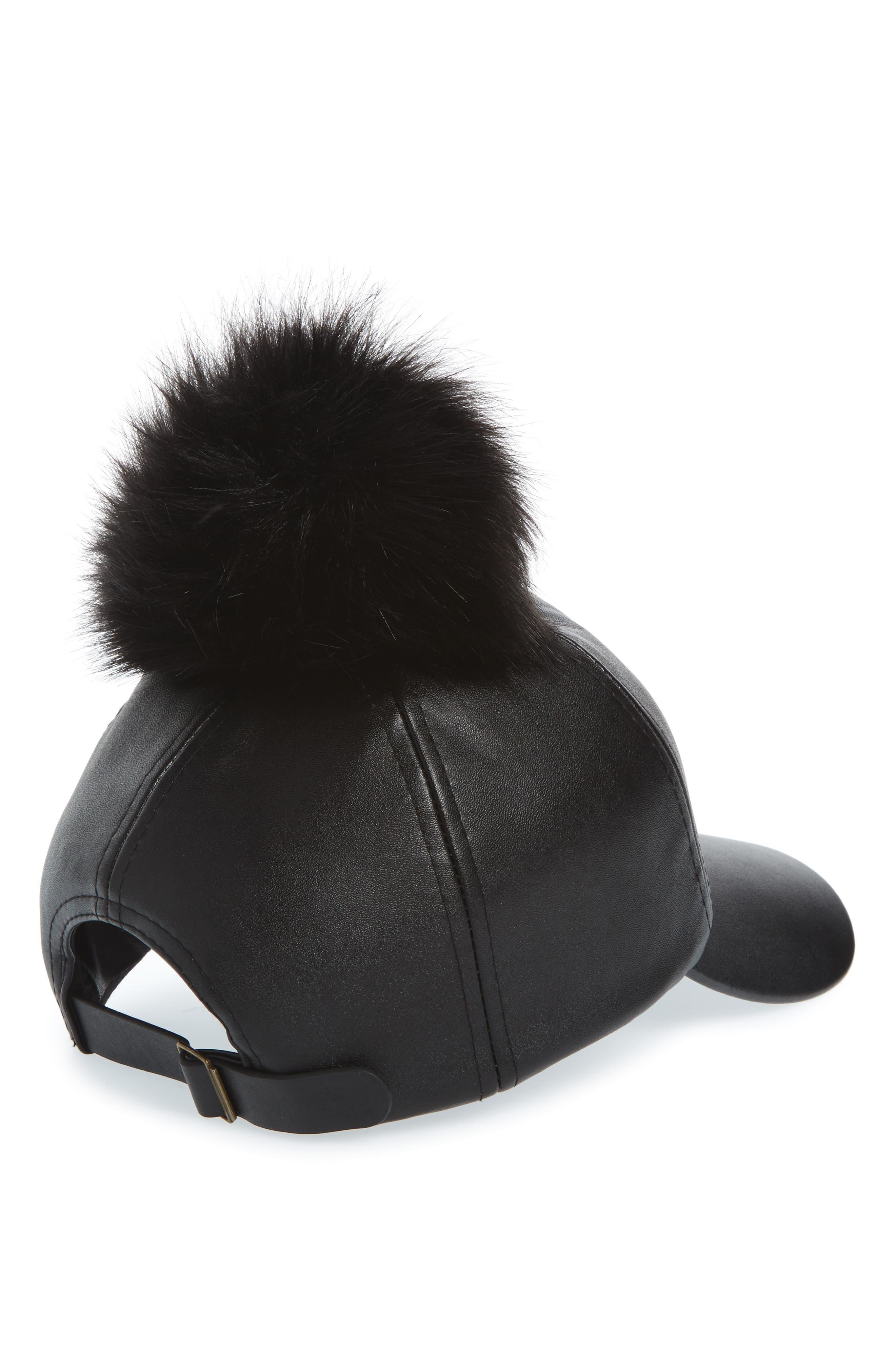 Faux Leather Cap with Faux Fur Pompom,                             Alternate thumbnail 3, color,