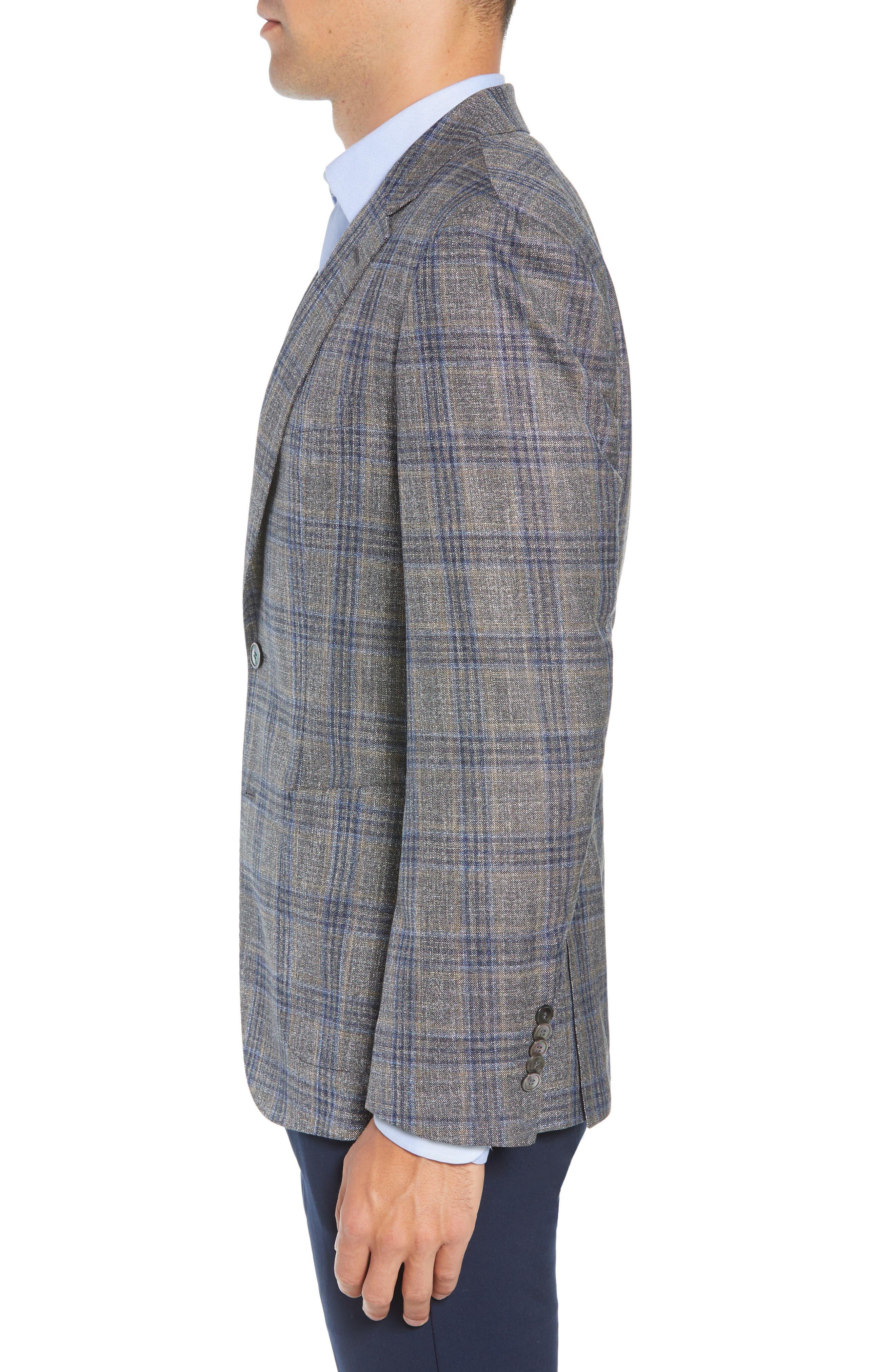 Heston Trim Fit Plaid Wool Blend Sport Coat,                             Alternate thumbnail 3, color,                             TAN
