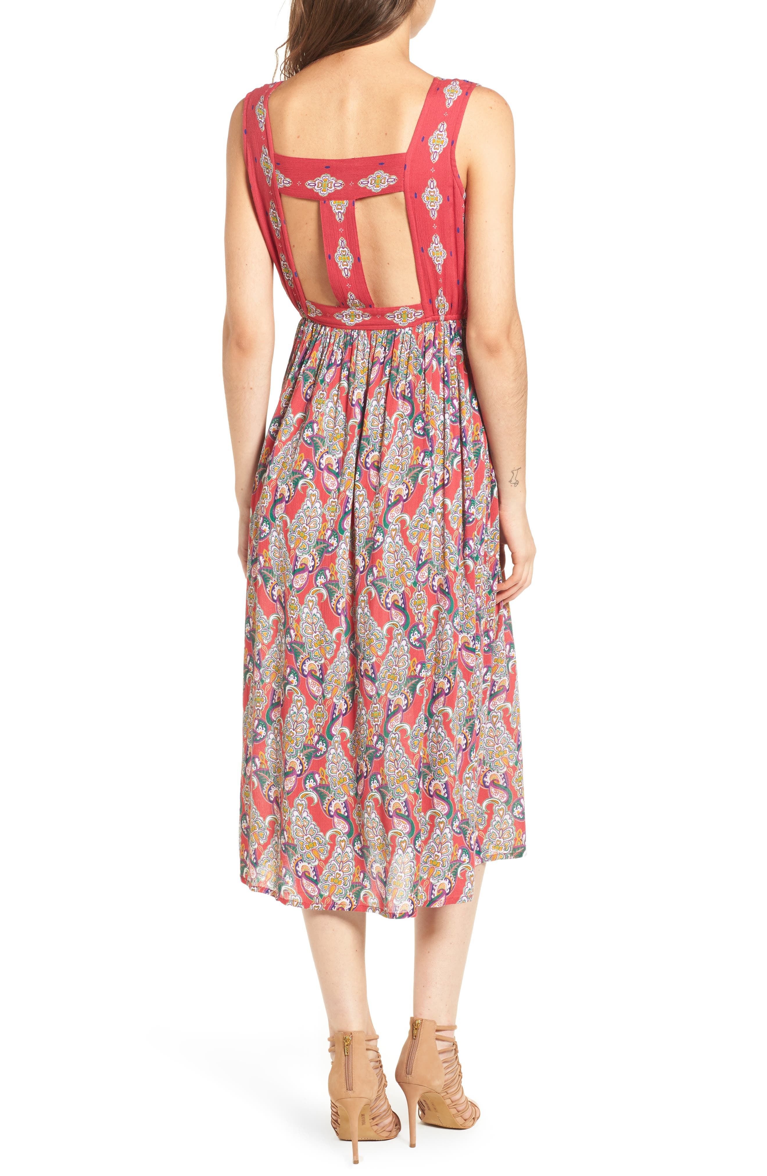 Alice Cut Out Back Midi Dress,                             Alternate thumbnail 2, color,                             645