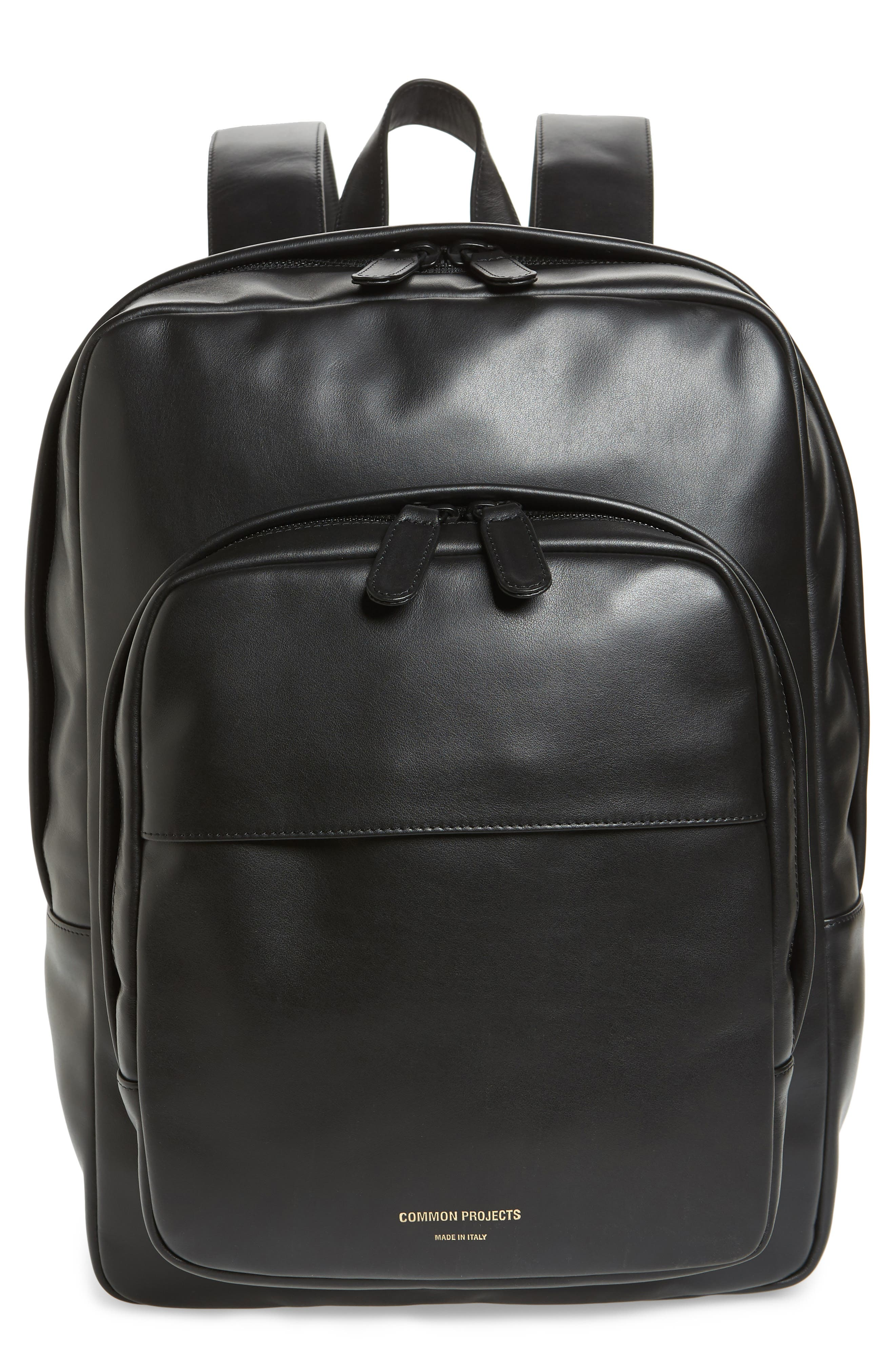 Leather Backpack,                         Main,                         color, 001