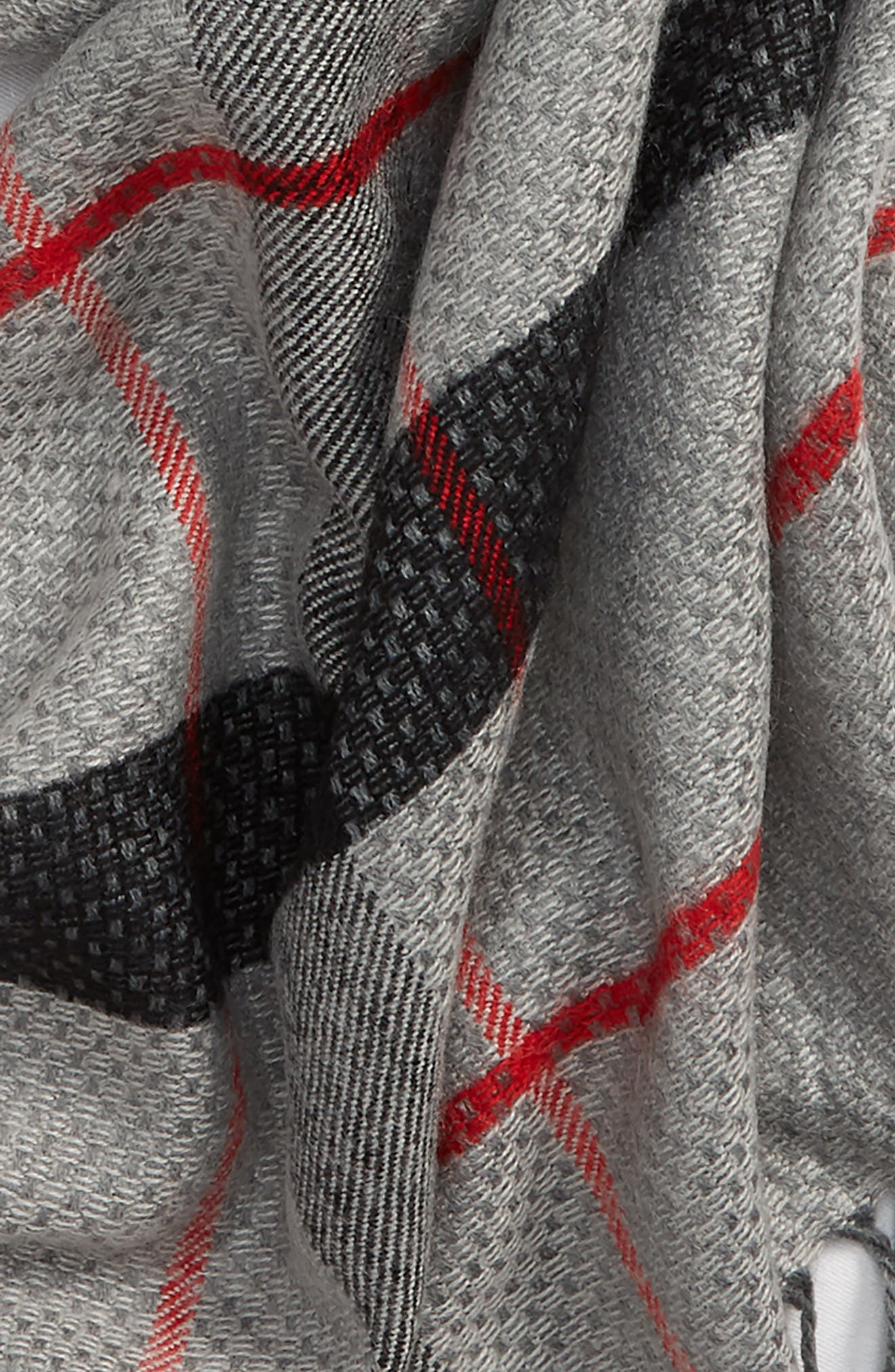 LEITH,                             Fringe Stripe Plaid Scarf,                             Alternate thumbnail 3, color,                             020