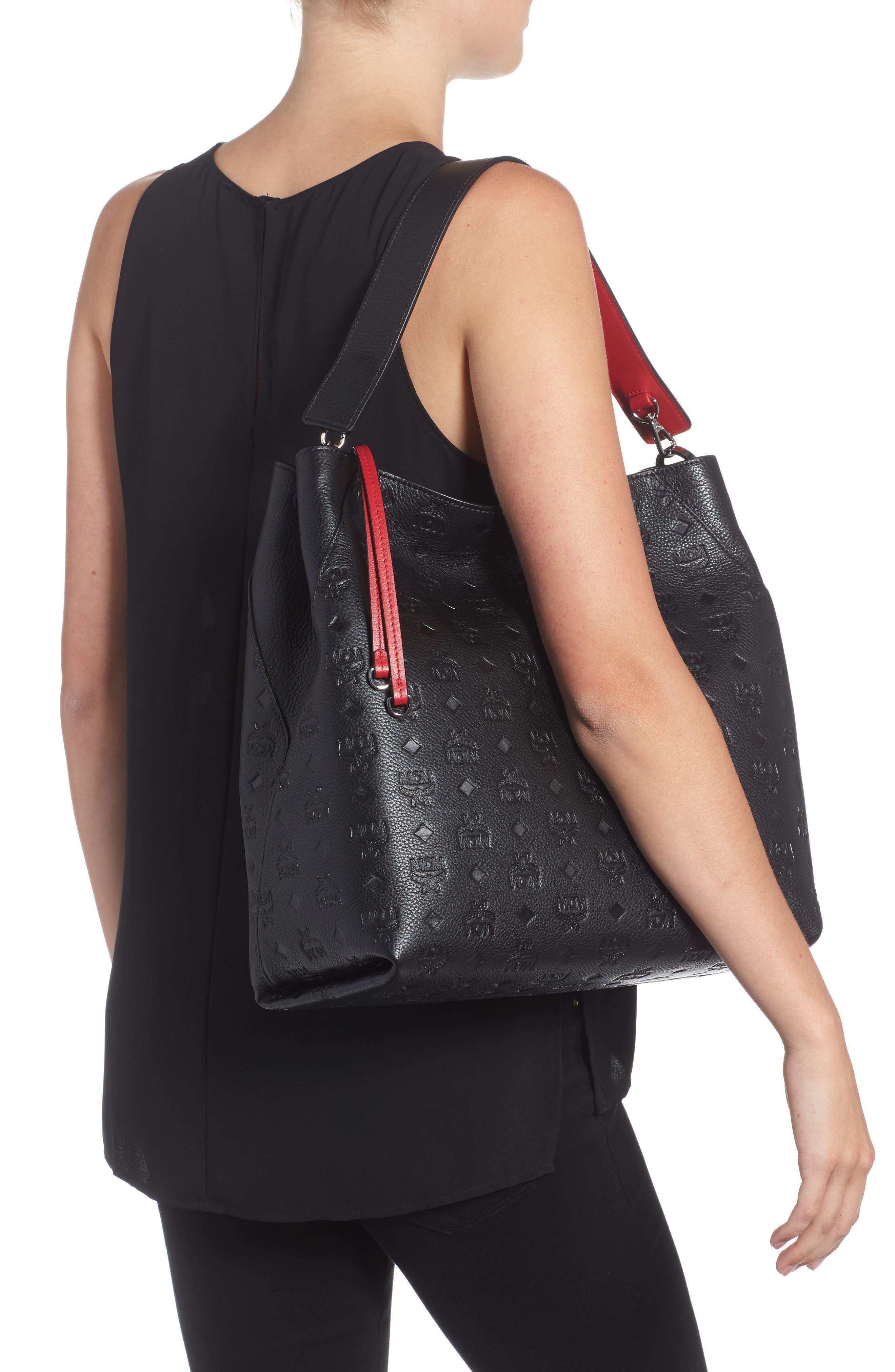 Klara Monogrammed Leather Hobo Bag,                             Alternate thumbnail 2, color,                             BLACK