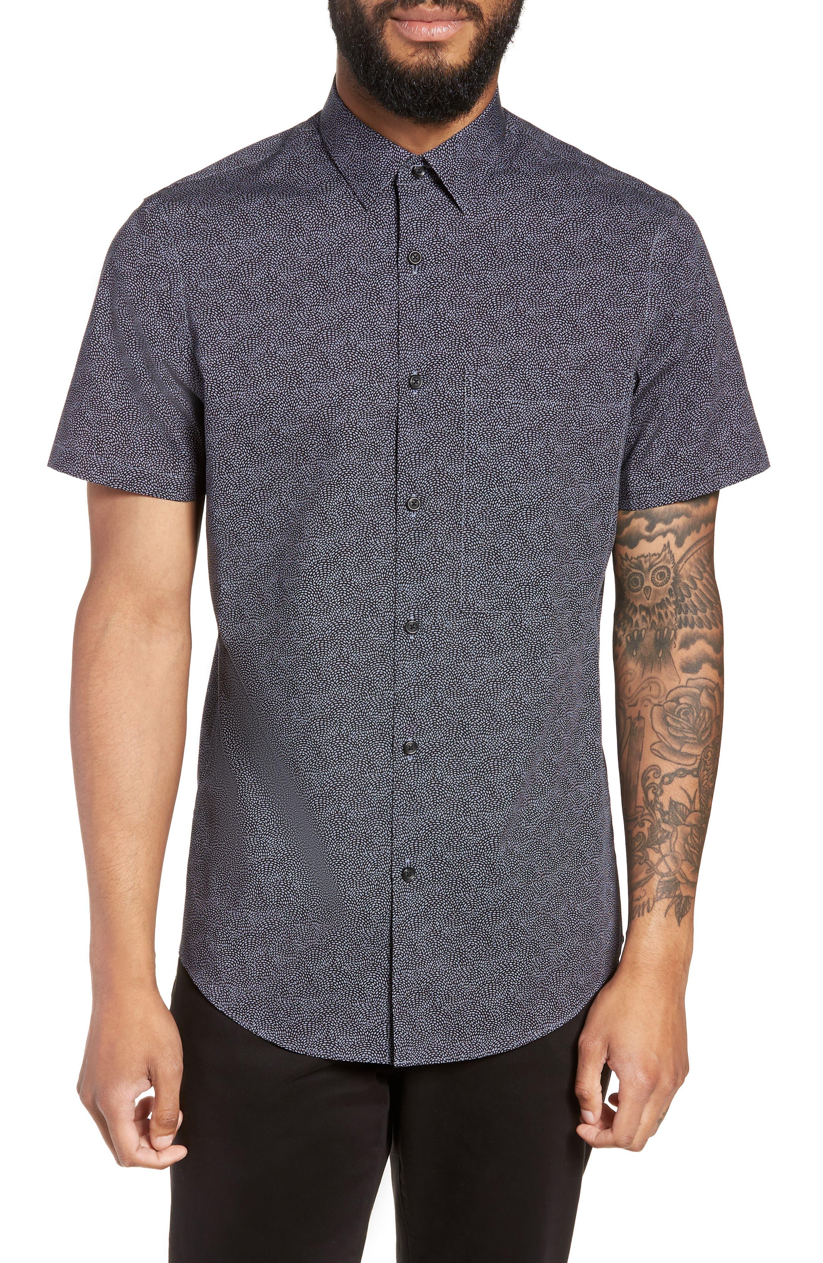 Slim Fit Print Non-Iron Sport Shirt,                         Main,                         color, GREY FOLKSTONE BLACK DOT