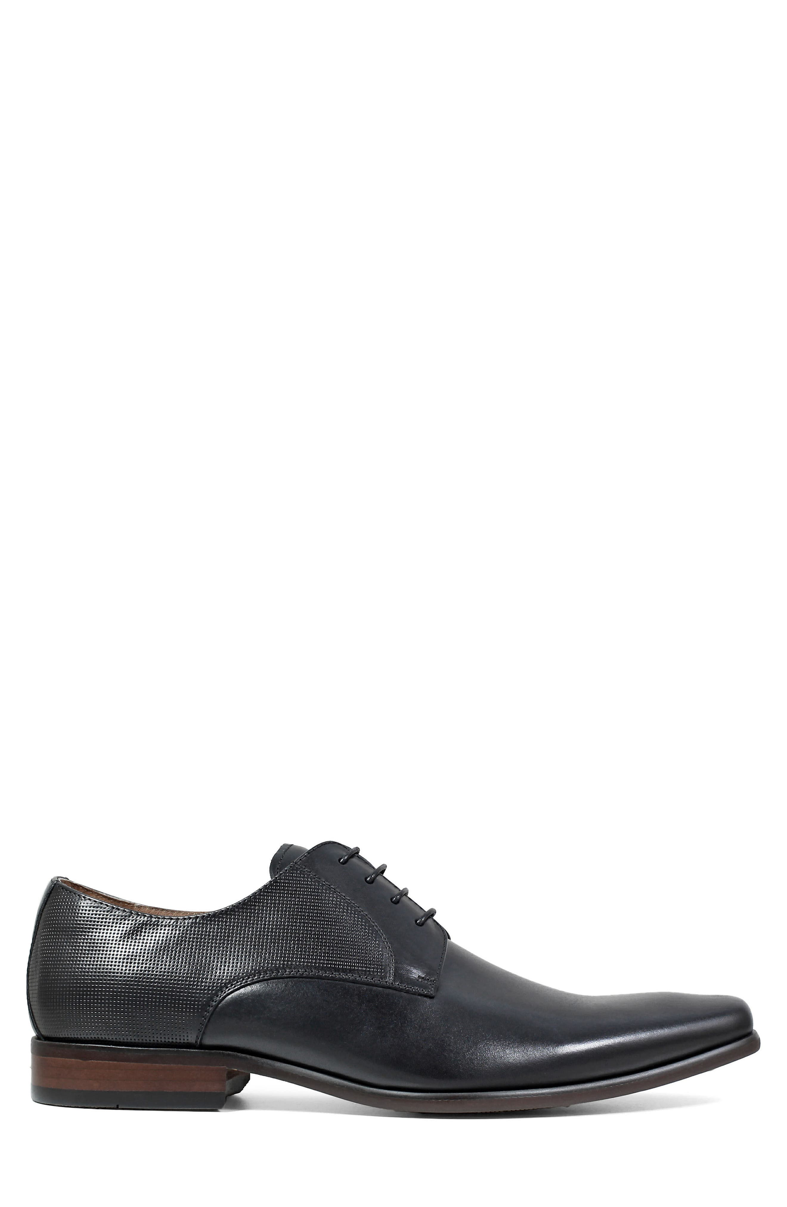 Postino Textured Plain Toe Derby,                             Alternate thumbnail 3, color,                             BLACK LEATHER